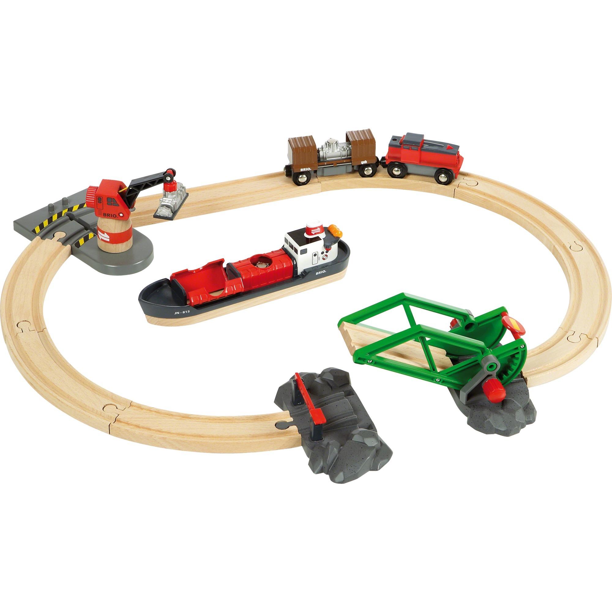 33061 Set circuito de tren con puerto y barco, Vehículo de juguete