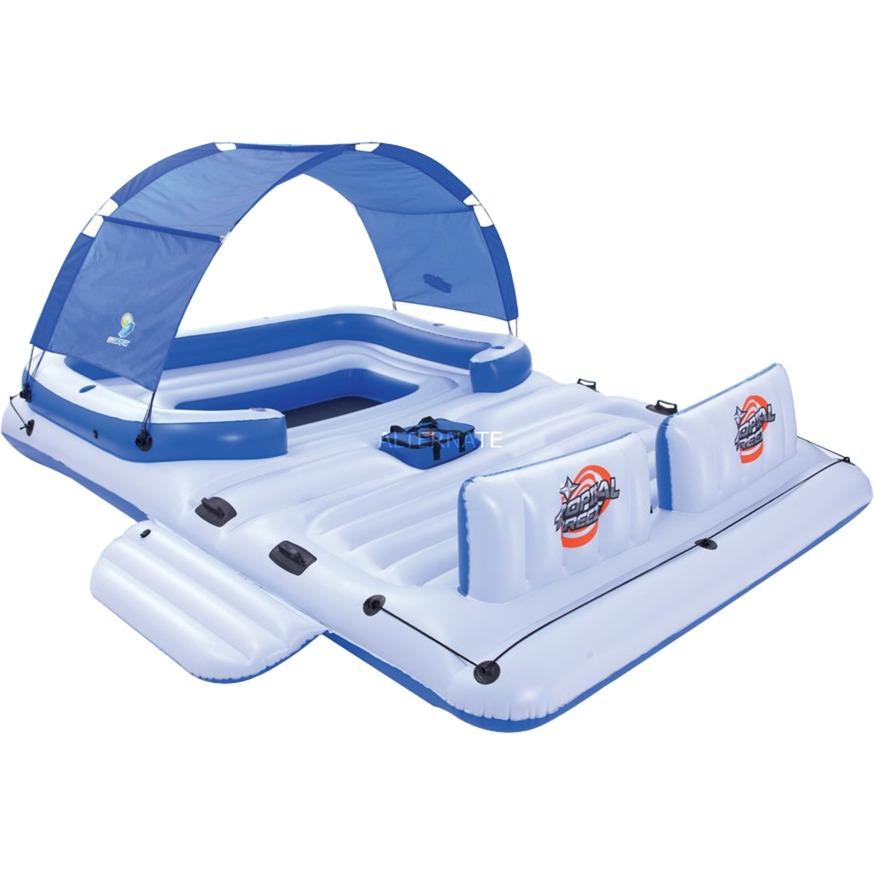 43105 flotador para piscina y playa Azul, Blanco Isla flotante Vinilo, Cama de aire
