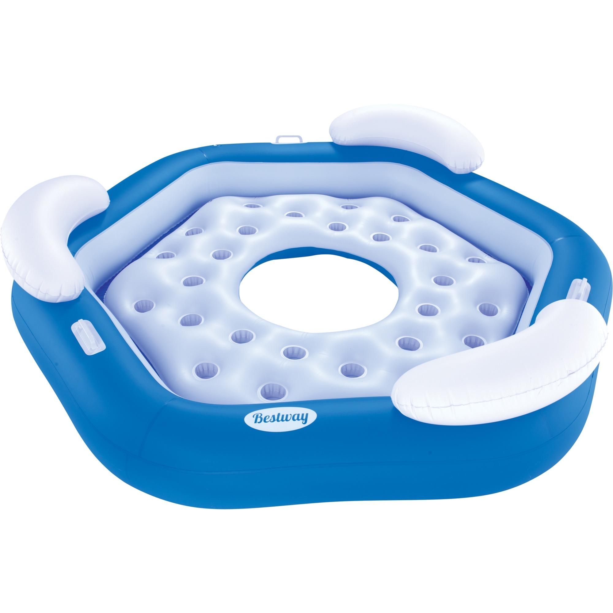43111 flotador para piscina y playa Azul, Blanco Isla flotante Vinilo, Productos de inflación