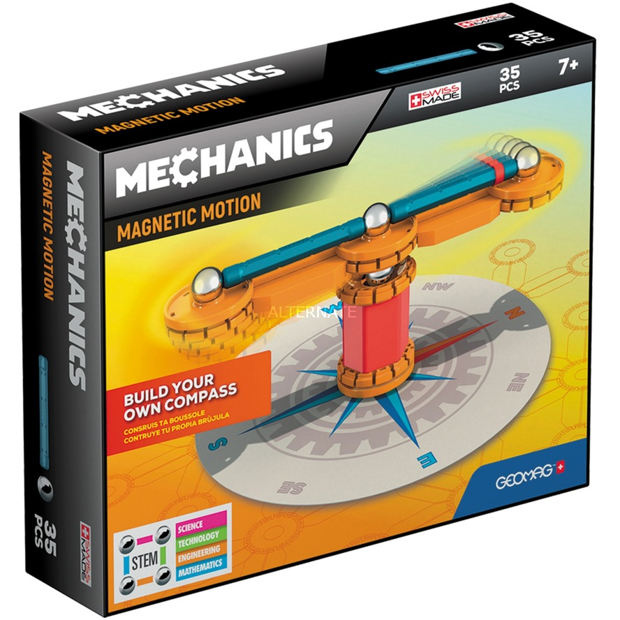 Mechanics Compass 35 juguete de imán de neodimio 35 pieza(s) Azul, Naranja, Rojo, Plata, Juegos de construcción