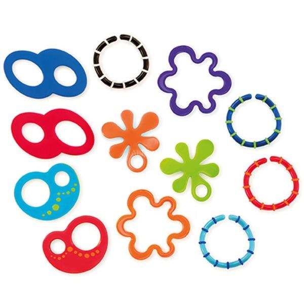 12 Linky Loops Teething Toy Multicolor mordedor, Juguete