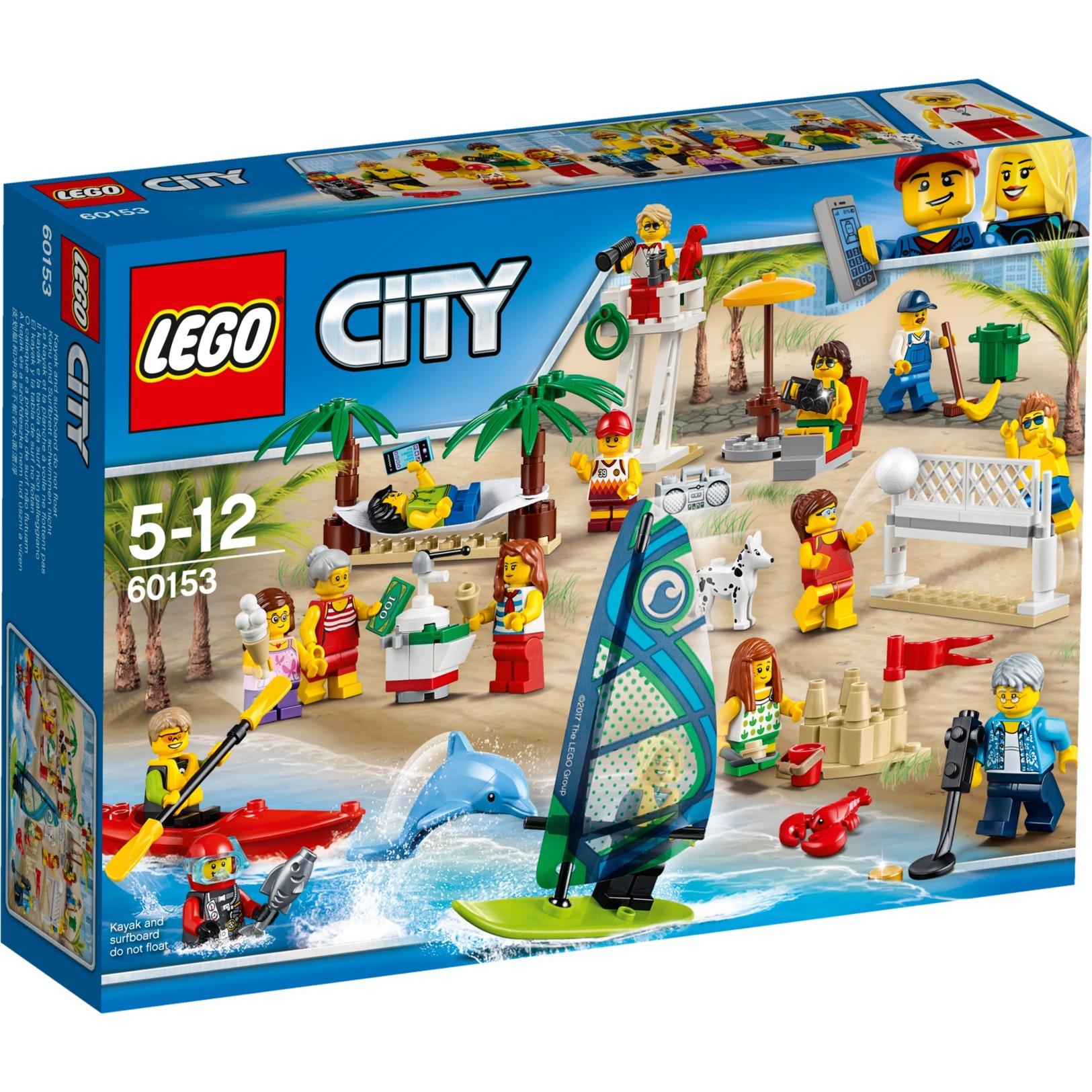 City 60153 Pack de minifiguras: Diversión en la playa, Juegos de construcción