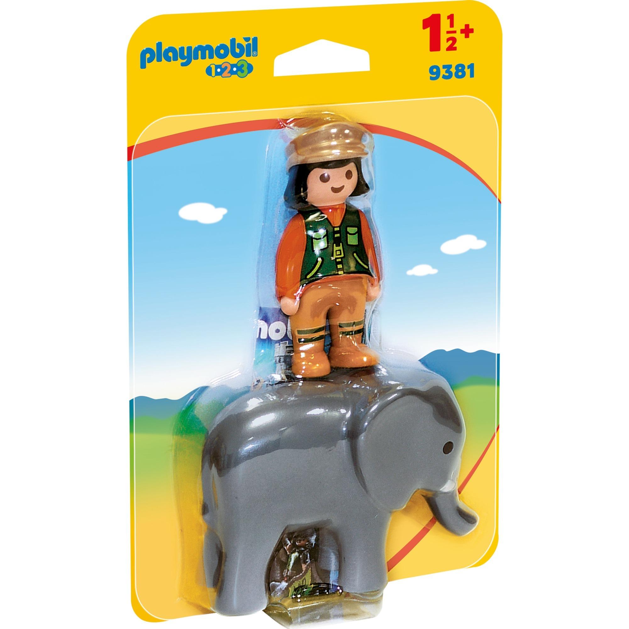 1.2.3 9381 Cuidadora de animales con elefante, Juegos de construcción