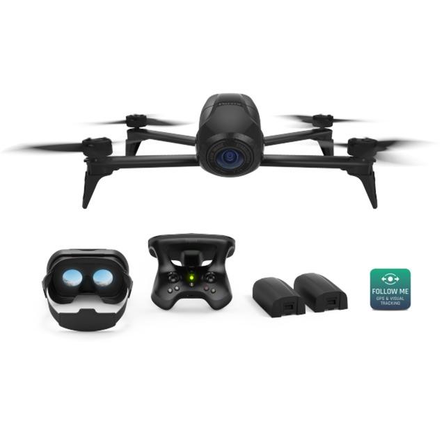 Bebop 2 Power - Pack FPV dron con cámara Cuadricóptero Negro 4 rotores 14 MP 1920 x 1080 Pixeles 3350 mAh, avión por control remoto