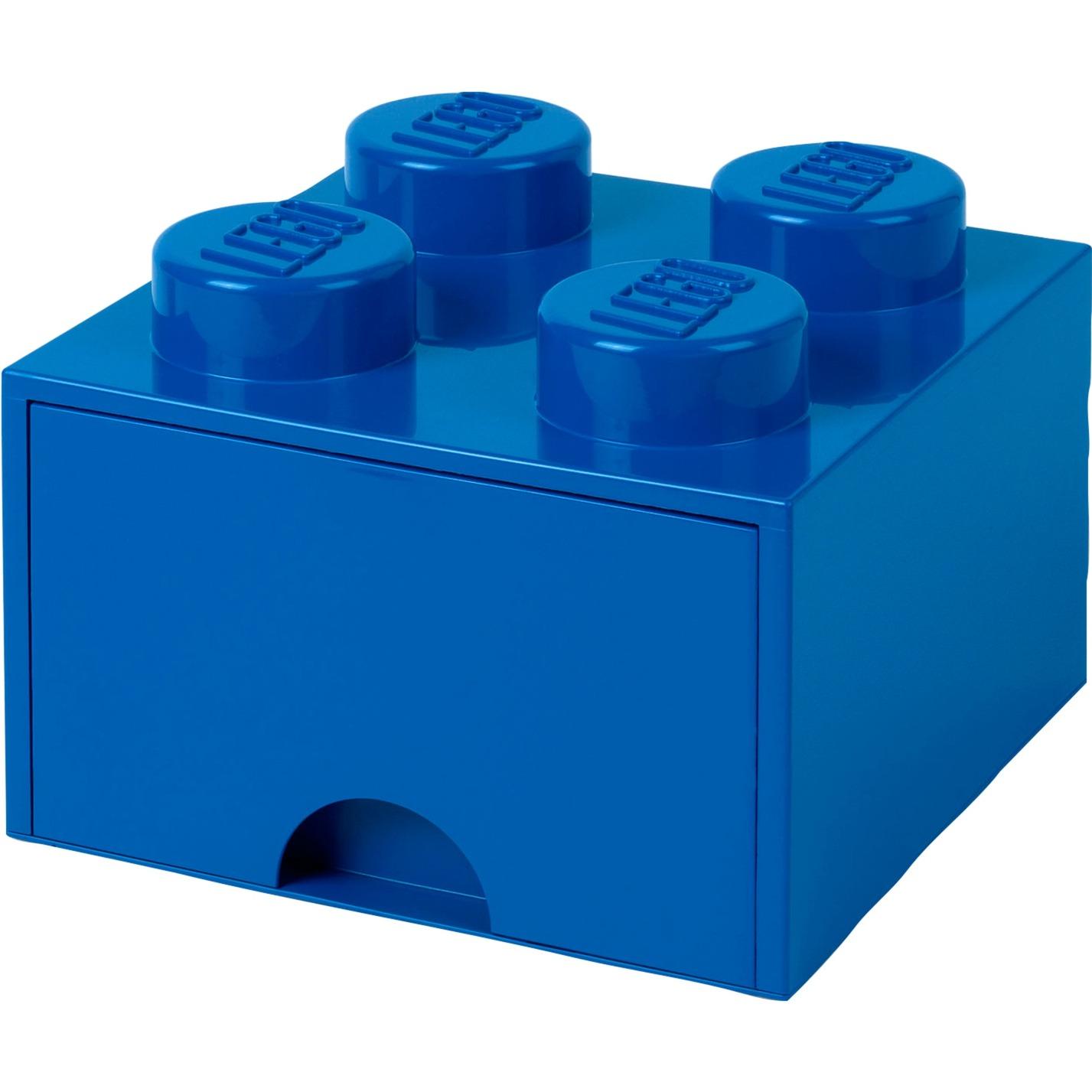 Ladrillo de almacenamiento LEGO (4 espigas) - 1 cajón - Azul
