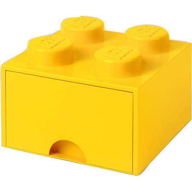 Ladrillo de almacenamiento LEGO (4 espigas) - 1 cajón - Amarillo