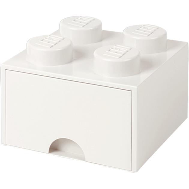 Ladrillo de almacenamiento LEGO (4 espigas) - 1 cajón - Blanco