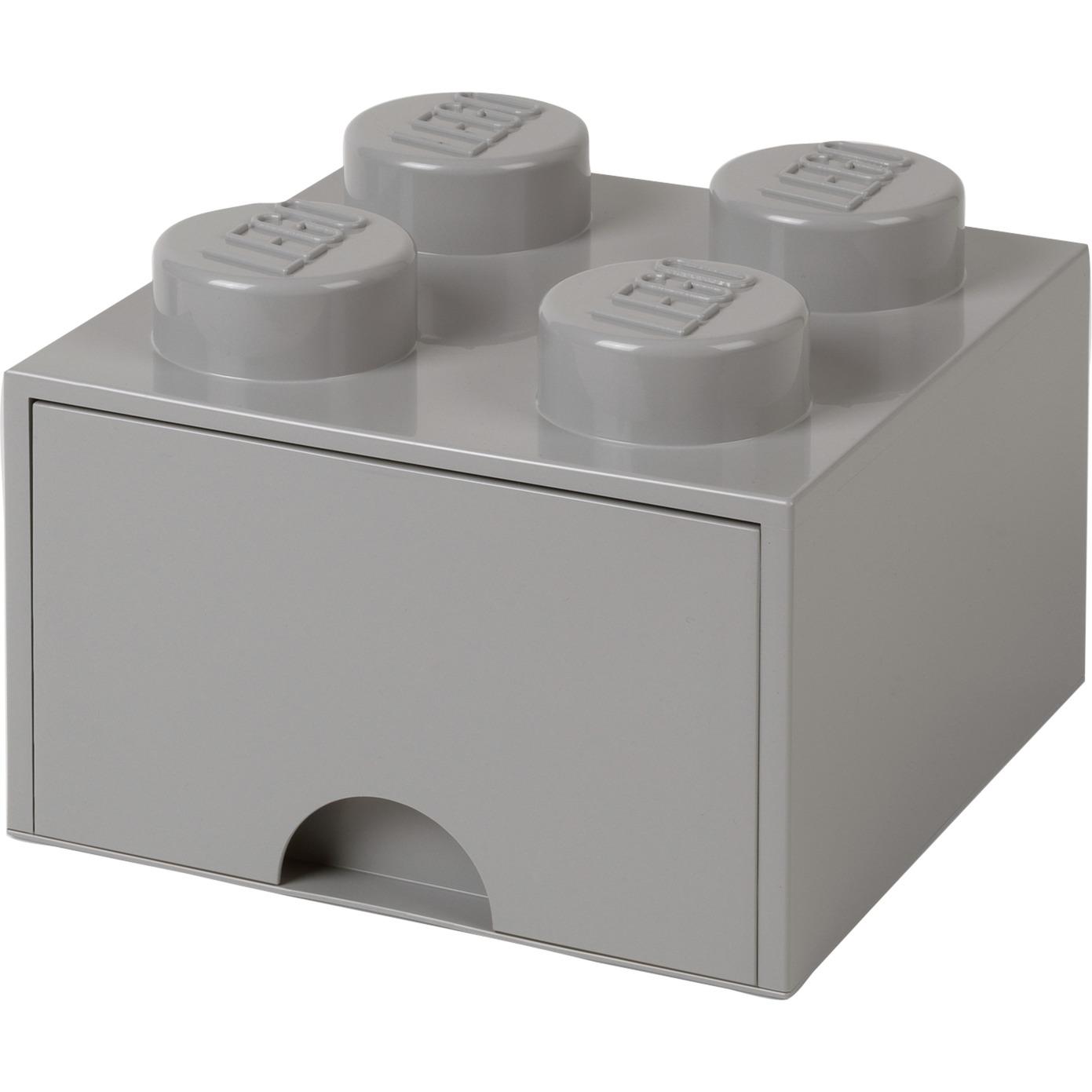 Ladrillo de almacenamiento LEGO (4 espigas) - 1 cajón - Gris