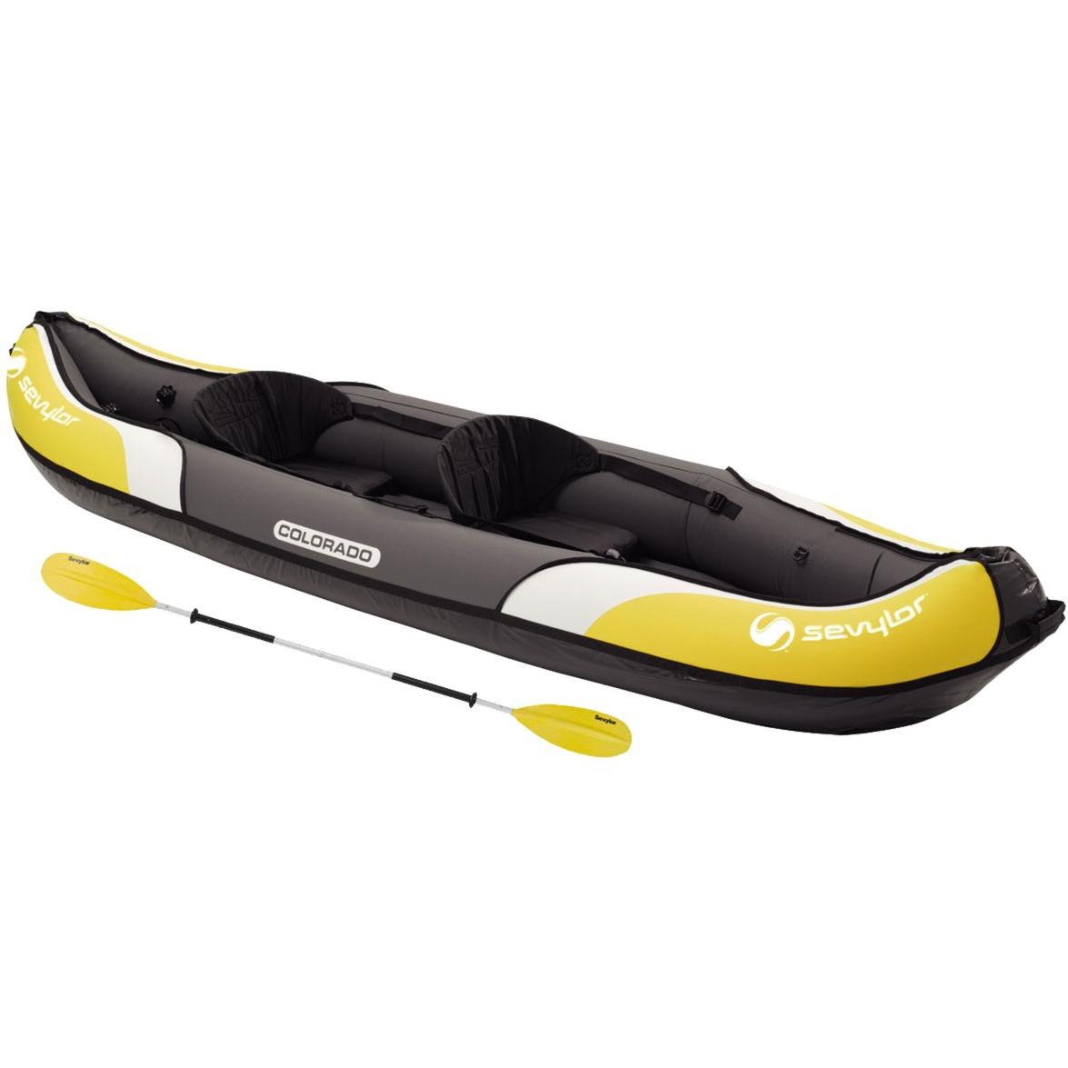 2000016743 2personas(s) Negro, Color blanco, Amarillo kayak deportivo, Barco inflable