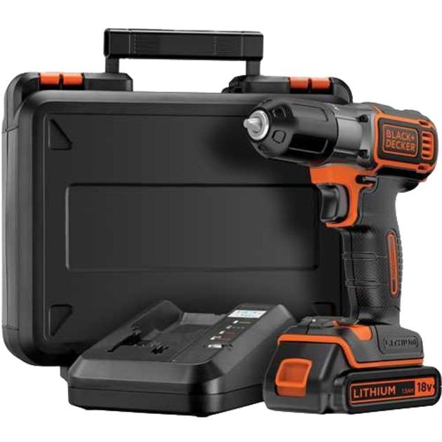 ASD18K Taladro de pistola Negro, Naranja Ión de litio 1,5 Ah, Taladro/destornillador