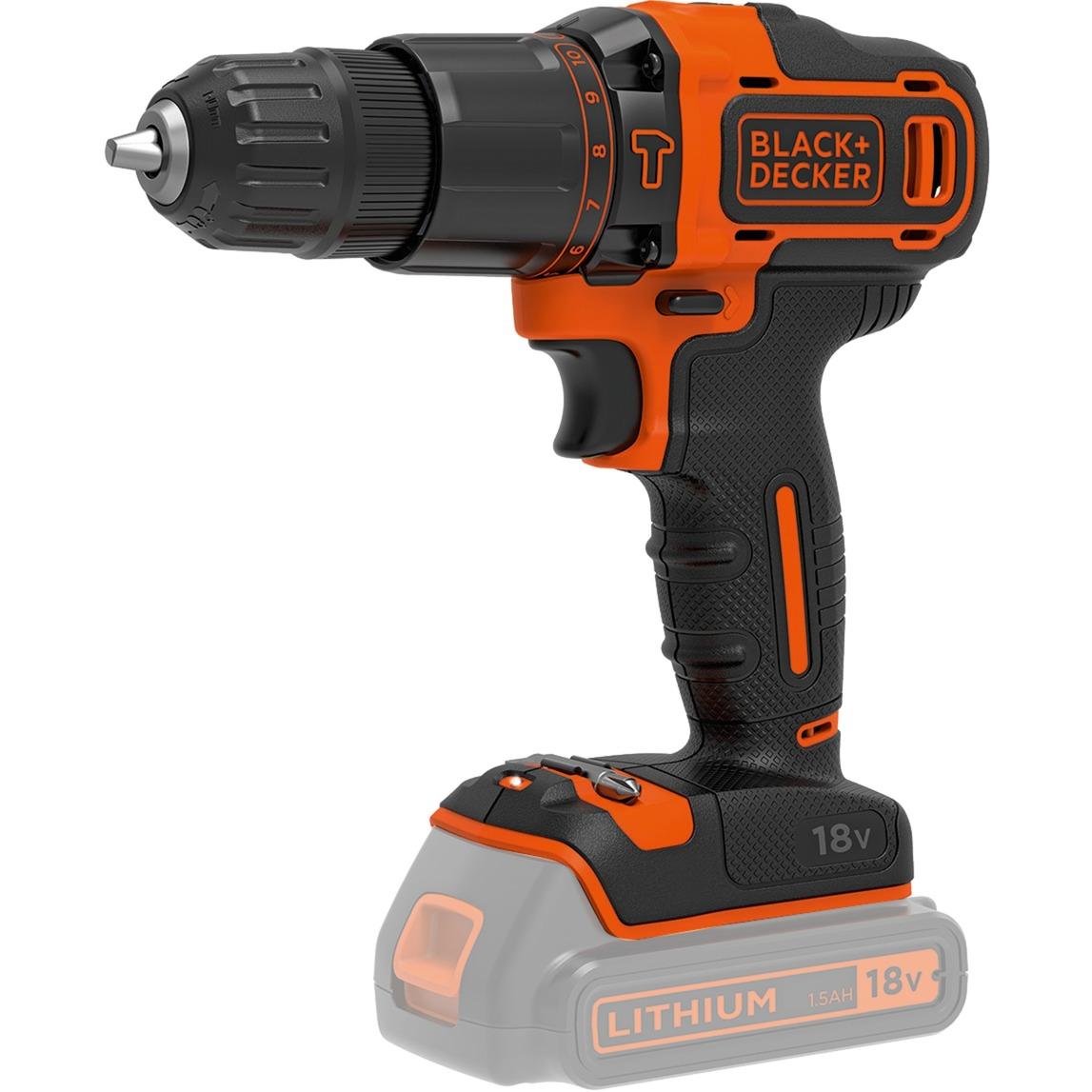 BDCH188N Taladro de pistola Negro, Naranja 1350 RPM Ión de litio, Martillo atornillador