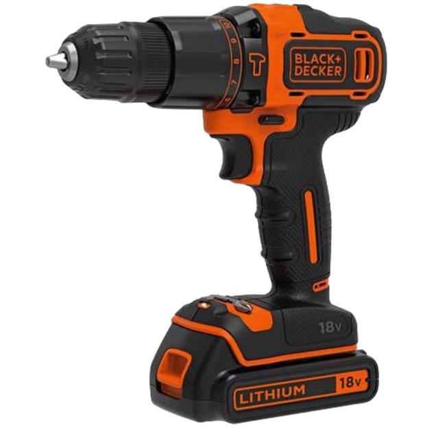 BDCHD18KB Taladro de pistola Negro, Naranja Ión de litio 1,5 Ah, Martillo atornillador