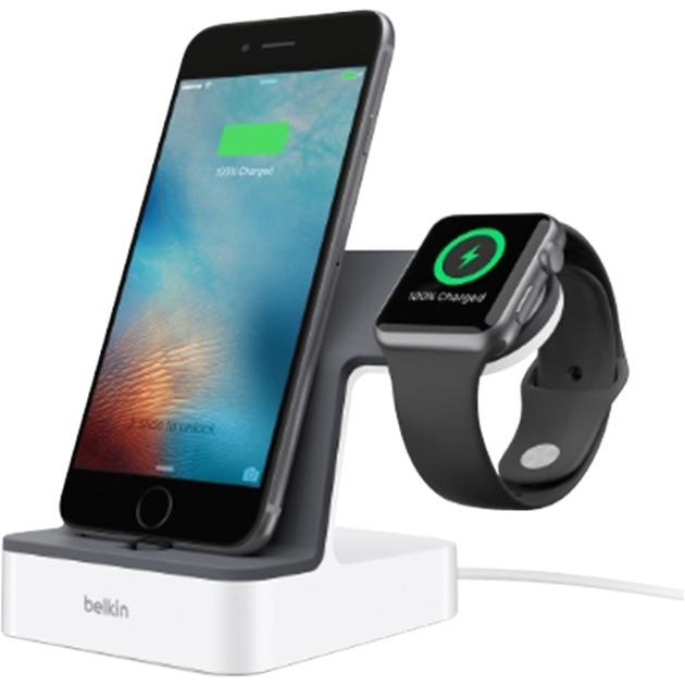PowerHouse Smartphone Gris, Color blanco estación dock para móvil, Estación de carga