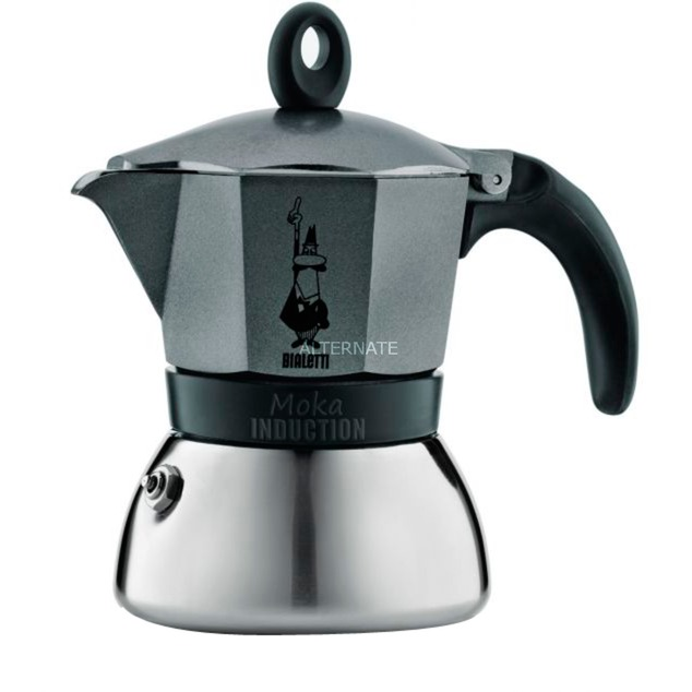 Moka Induction Aluminio, Antracita, Negro, Cafetera espresso