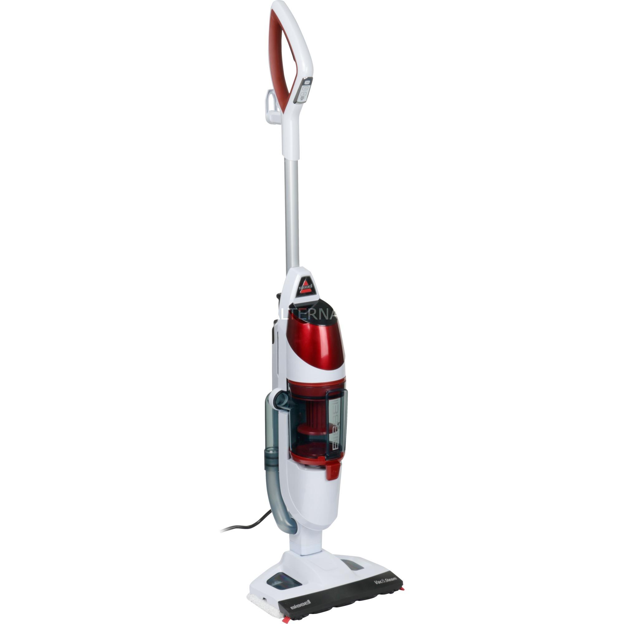 Vac & Steam Escoba limpiadora a vapor 0,38 L Rojo, Blanco 1600 W, Aspiradora en húmedo y en seco