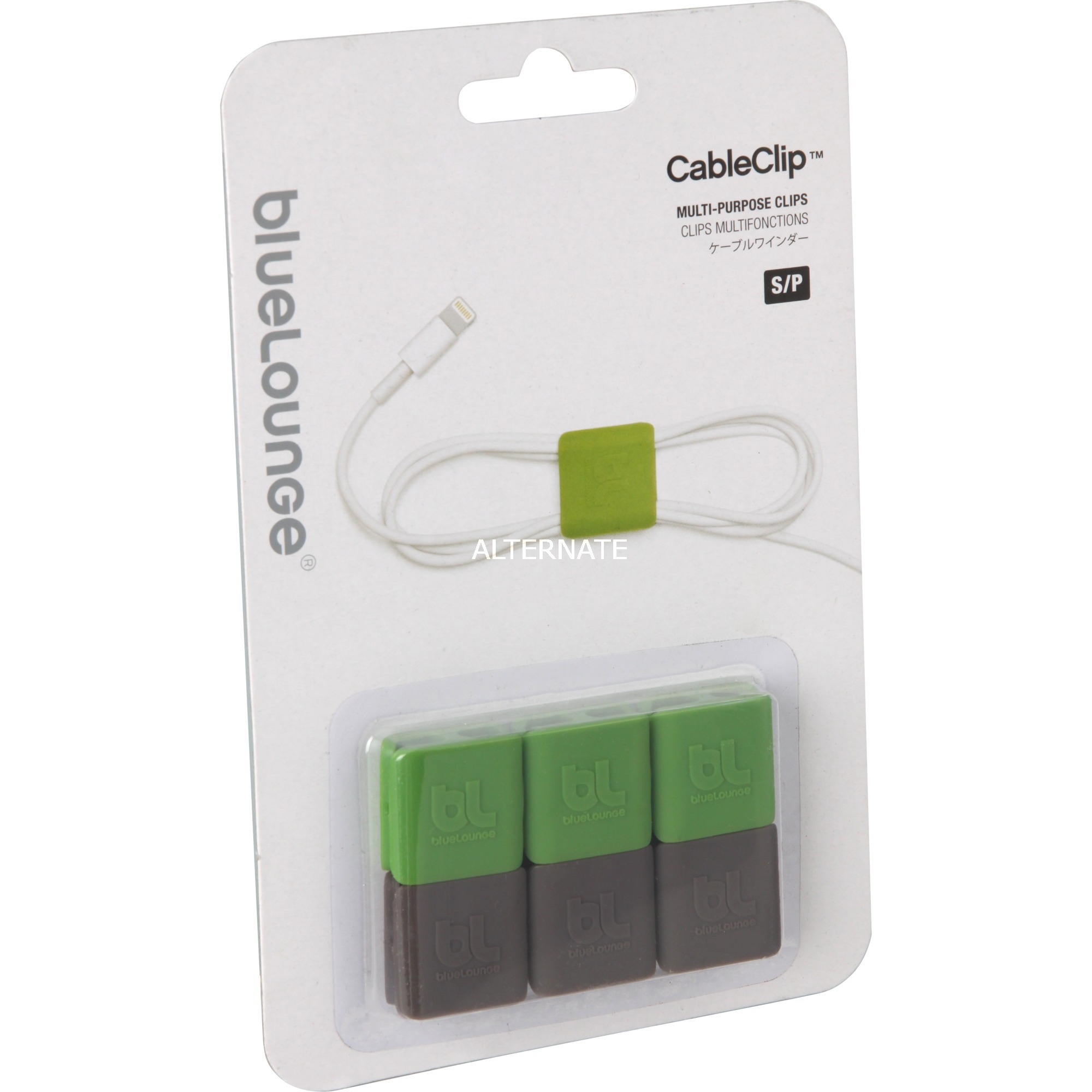 CableClip Small Verde, Gris abrazadera para cable, Fijación/Instalación