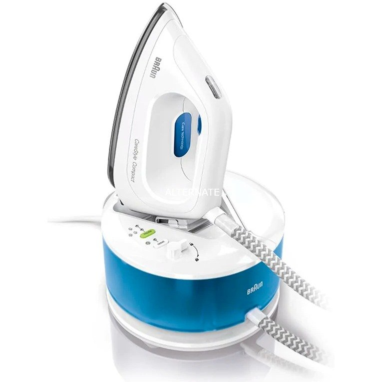 CareStyle 2 Compact IS 2043 2200 W 1,3 L Suela de Eloxal Azul, Blanco, Estación de planchado a vapor