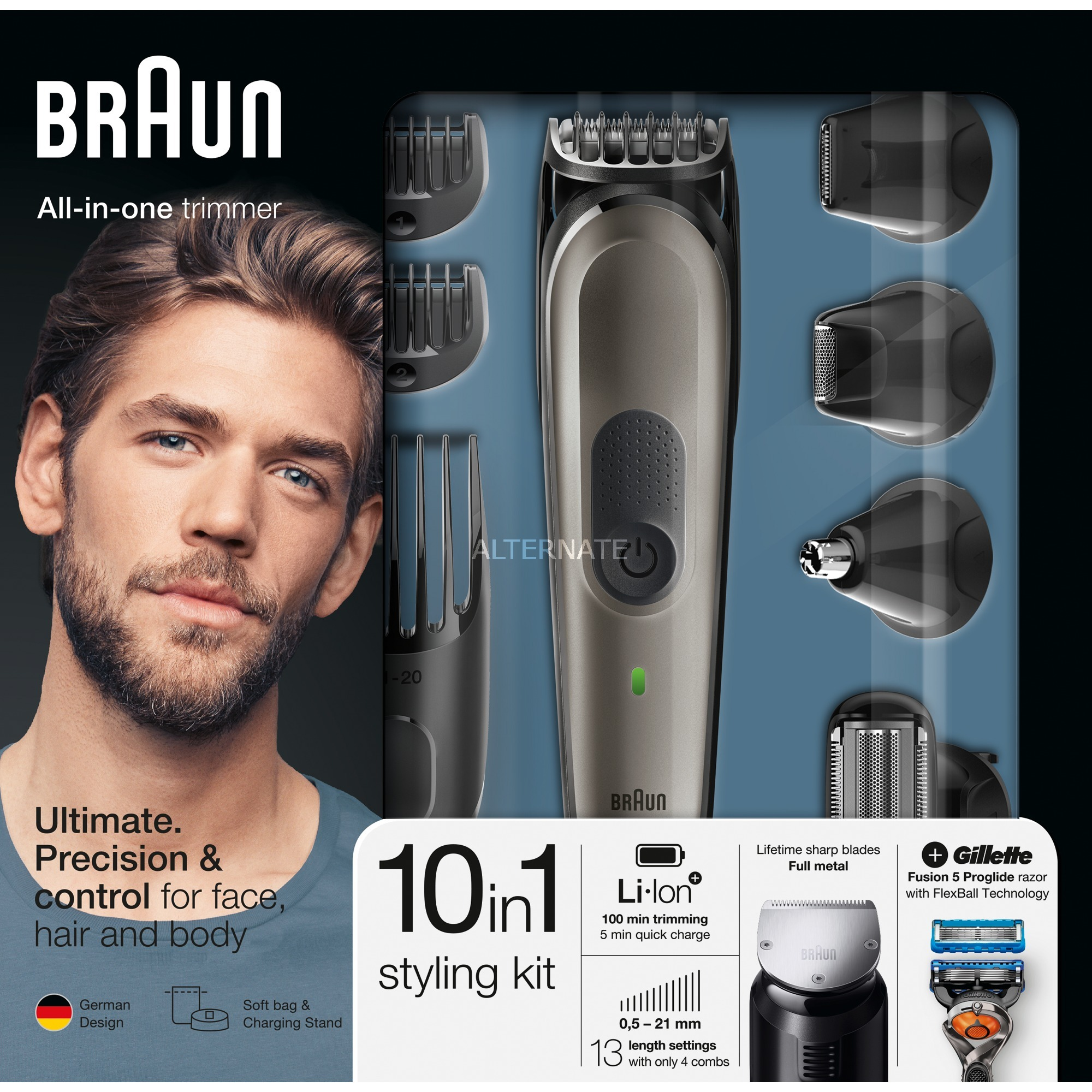 Multigroomer 81679638 depiladora para la barba Mojado y seco Negro, Gris, Cortador de pelo