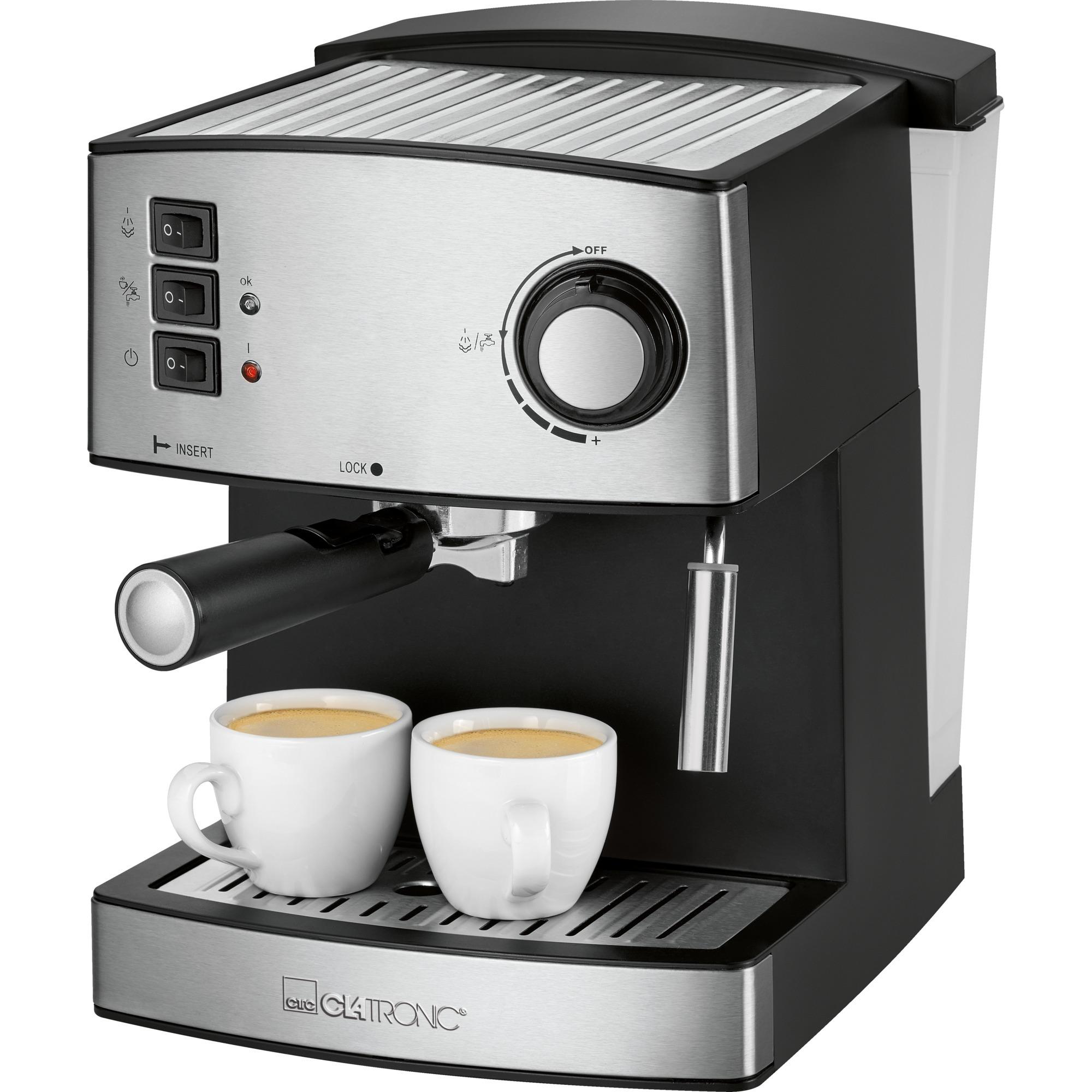 ES 3643 Independiente Máquina espresso 1.6L 2tazas Negro, Acero inoxidable, Cafetera espresso