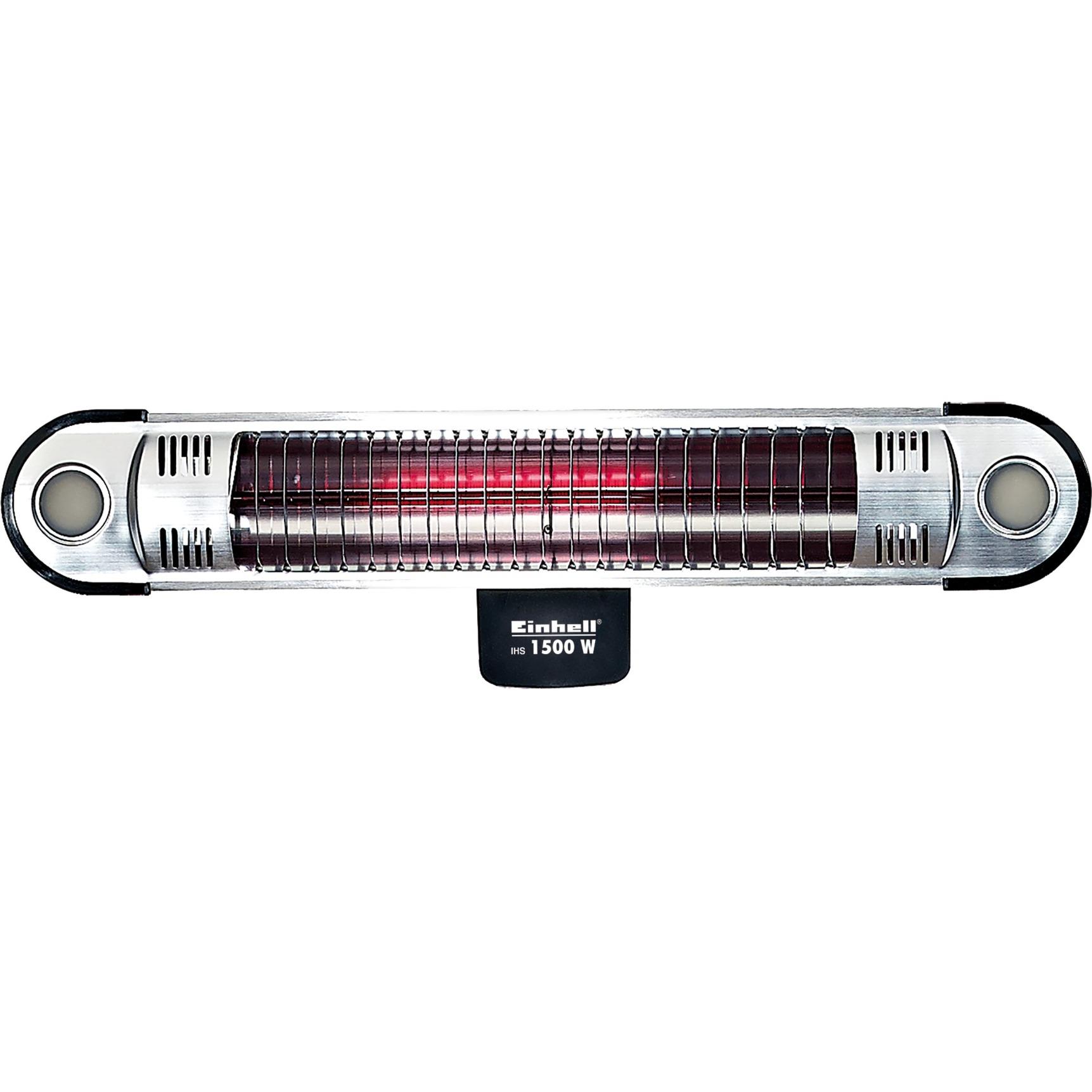 IHS 1500 Interior y exterior Negro, Plata 1500W Halógeno, Calentador radiante