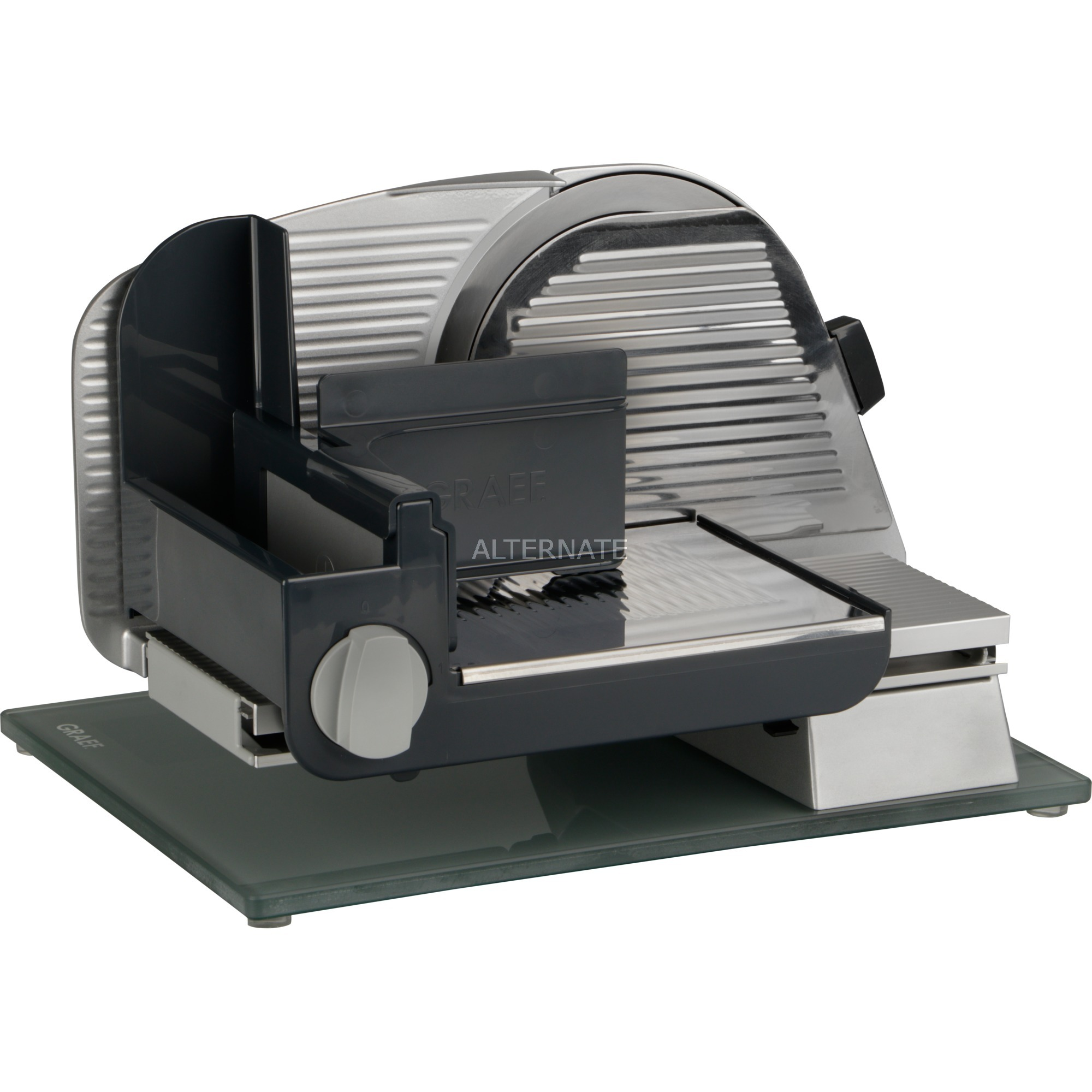 Master M 20 rebanadora Eléctrico Negro, Plata Vidrio, Metal, De plástico 170 W, Cortatodo