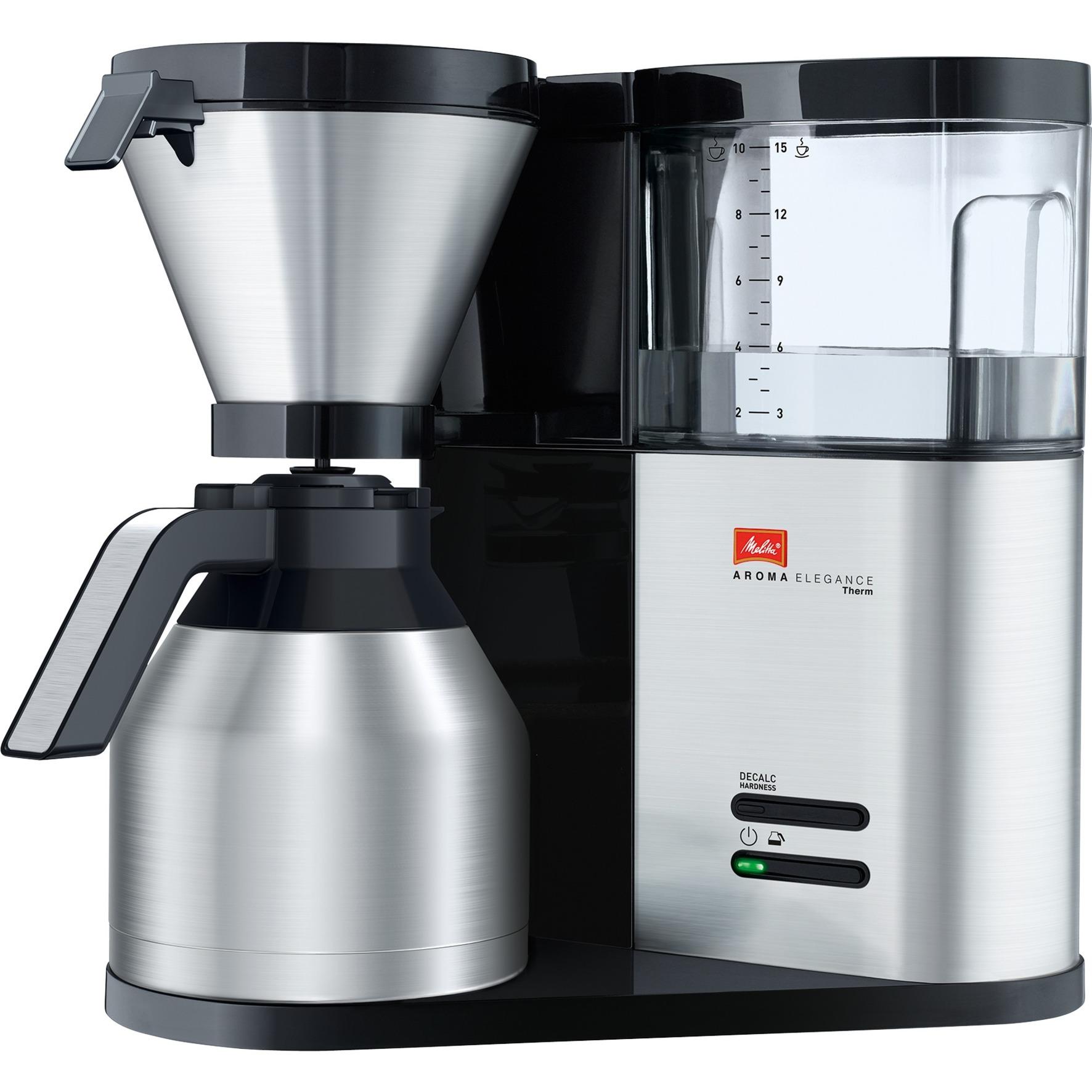 Aroma Elegance Therm Independiente Totalmente automática Cafetera de filtro 15tazas Negro, Acero inoxidable