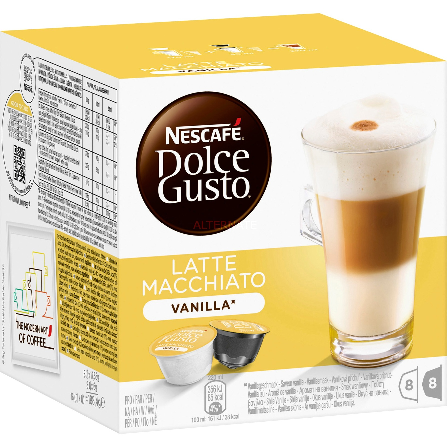 Dolce Gusto Latte Macchiato Vanilla café instantáneo, Cápsula de bebida