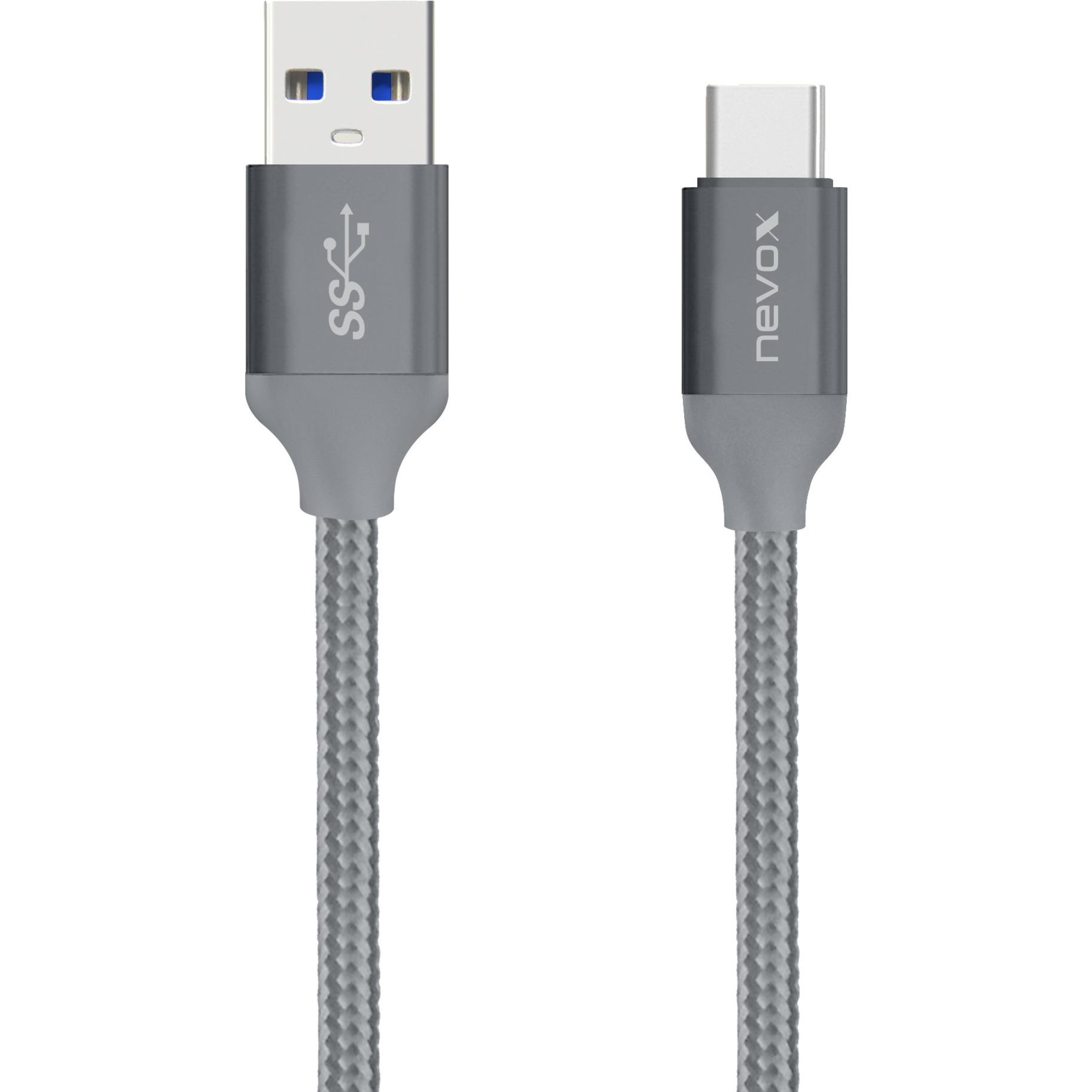 1480 cable USB 2 m 3.2 Gen 2 (3.1 Gen 2) USB A USB C Gris