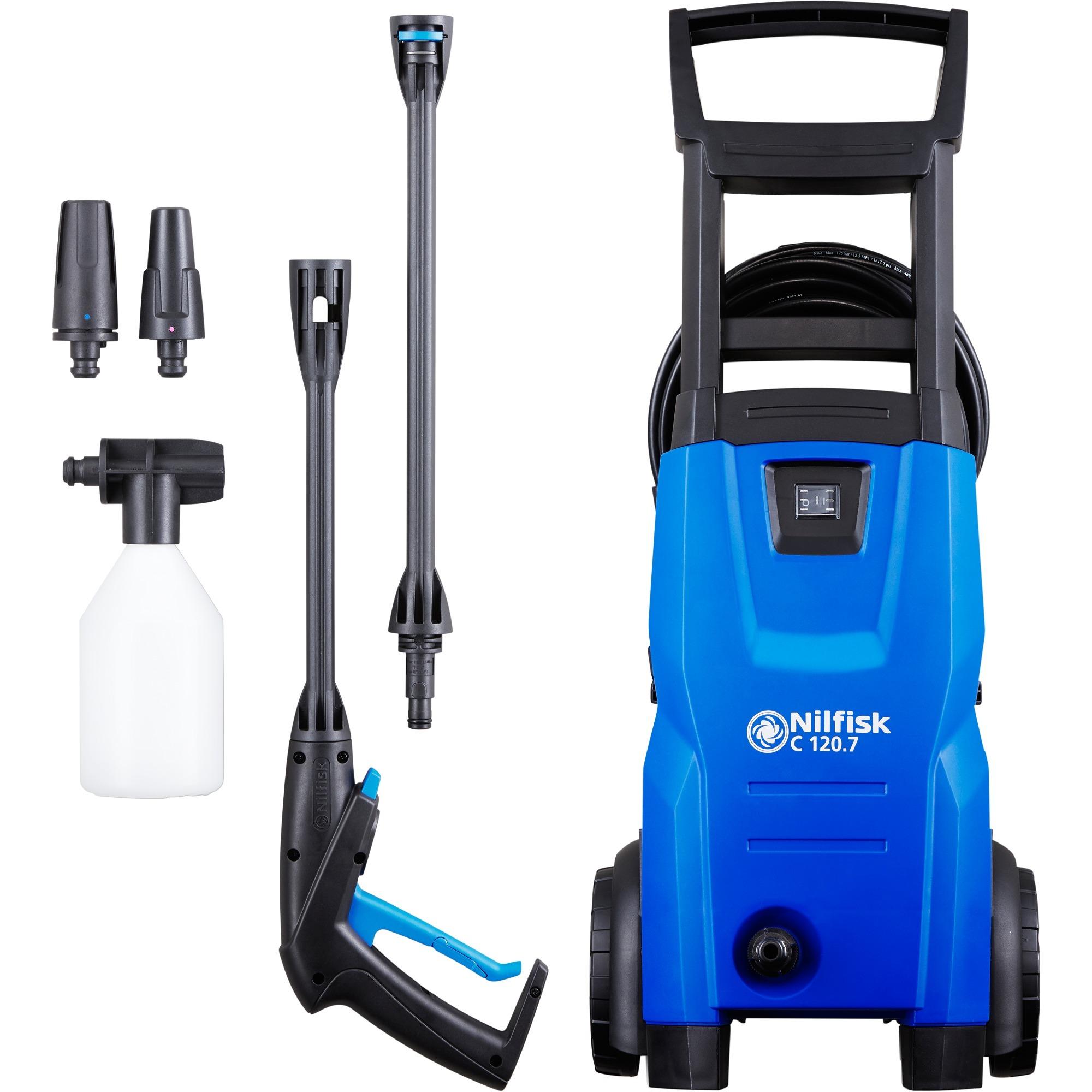 C 120.7-6 EU Limpiadora de alta presión o Hidrolimpiadora Vertical Eléctrico Negro, Azul 440 l/h 1400 W, Hidrolimpiadora de alta presión