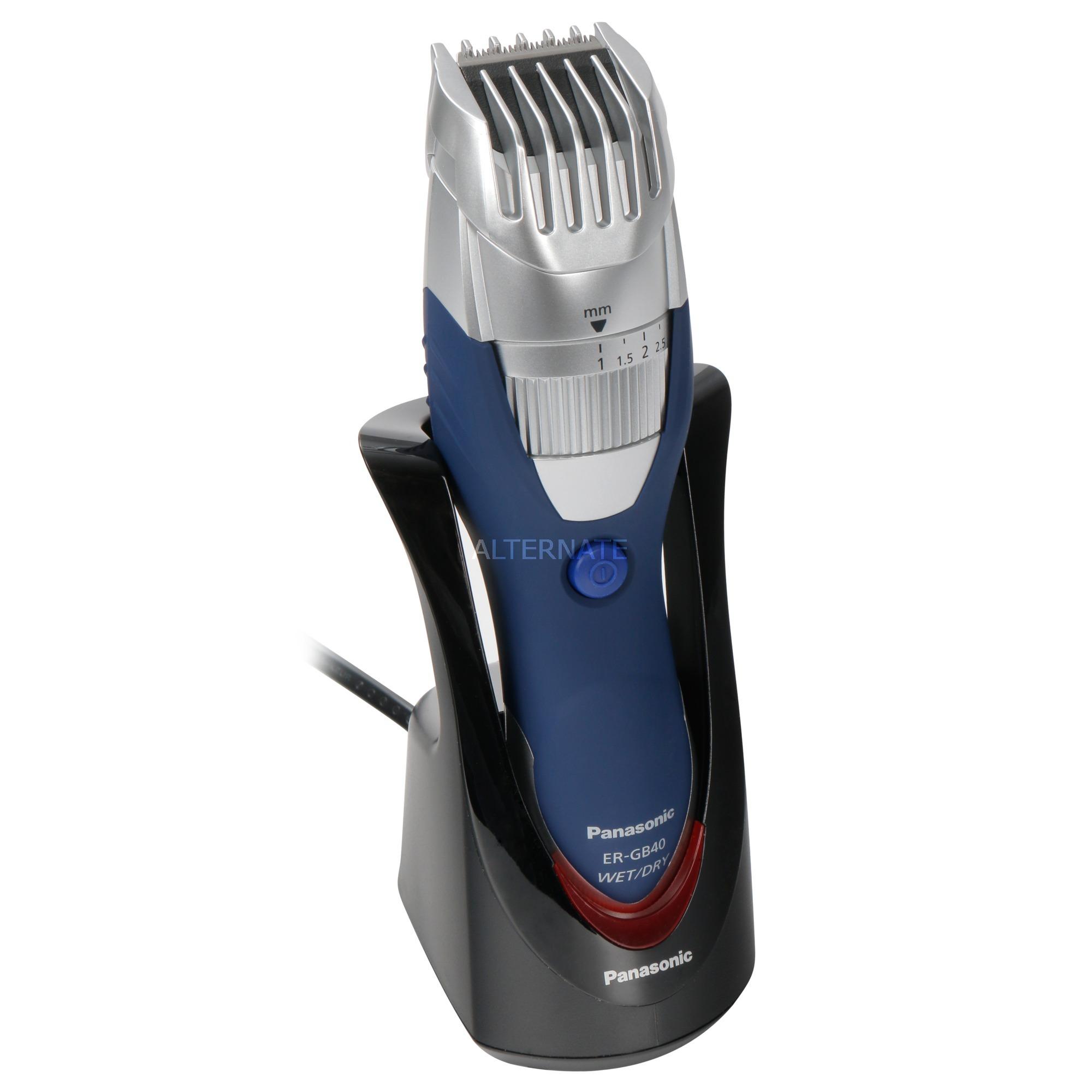 ER-GB40 depiladora para la barba Mojado y seco Azul, Plata, Cortapelo para barba