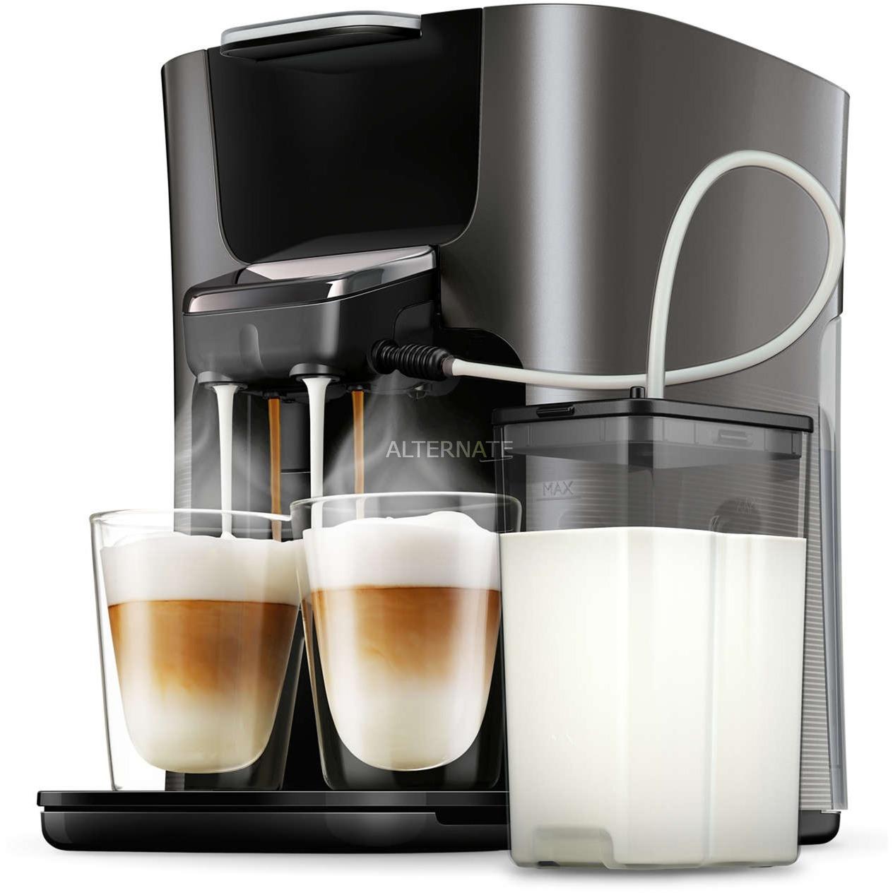 HD6574/50 Independiente Totalmente automática Máquina de café en cápsulas 1L 7tazas Negro, Titanio cafetera eléctrica, Cafetera monodosis