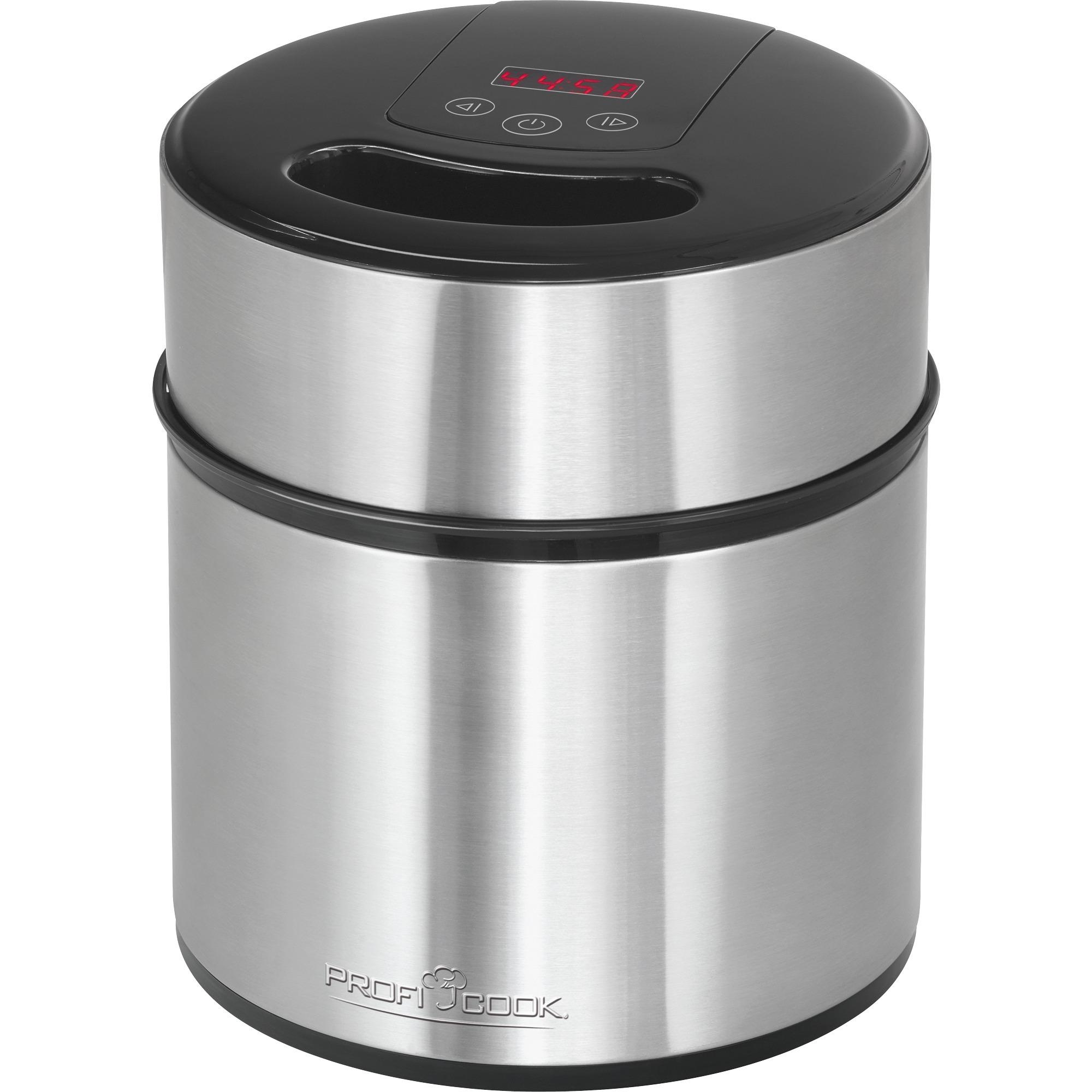 501140 máquina para helados 1,8 L Negro, Acero inoxidable 12 W, Heladera