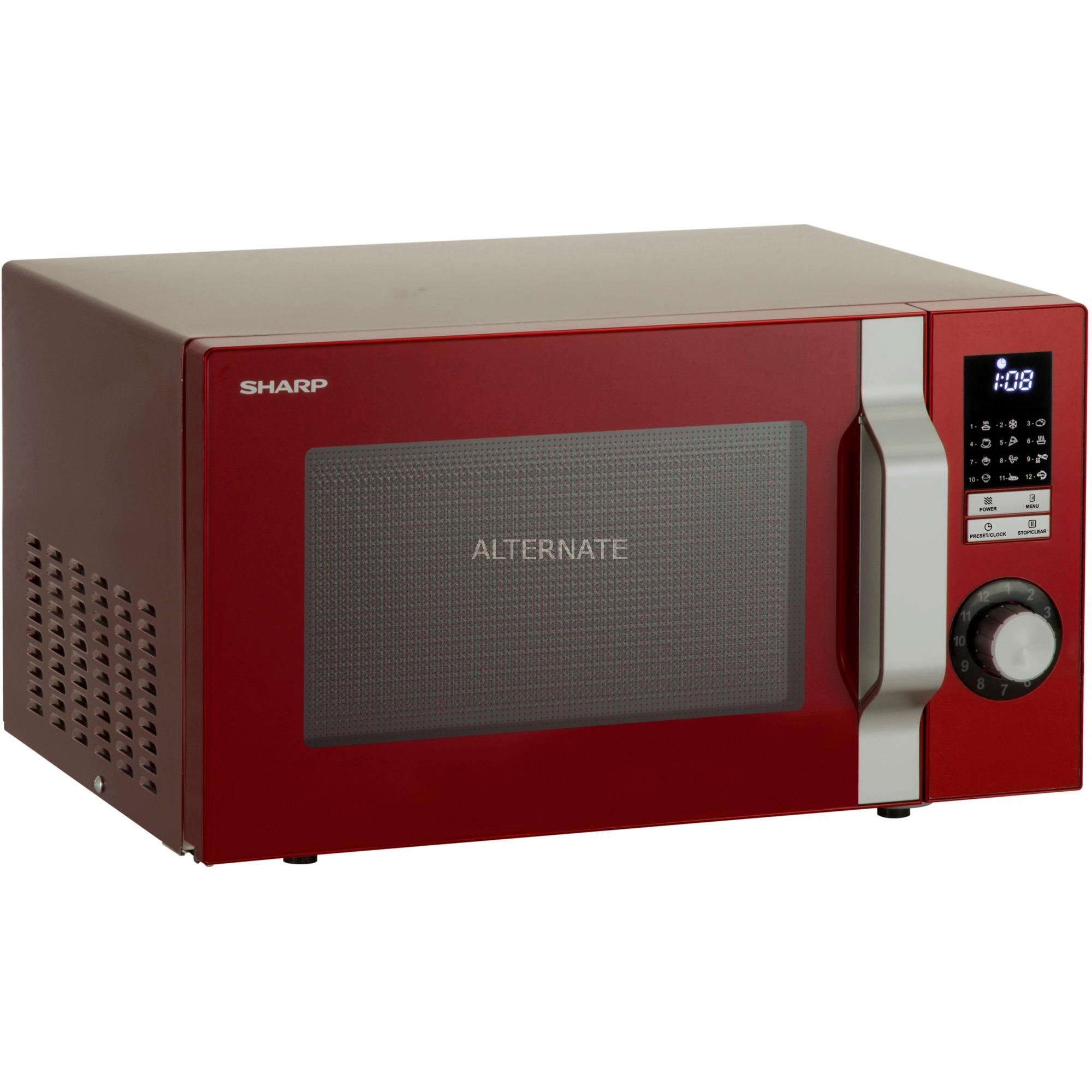R-344RD Mikrowelle / 900 W / 25 L / LED-Display / Zeitschaltuhr / 12 Automatikprogramme / Rot Encimera Solo microondas Rojo