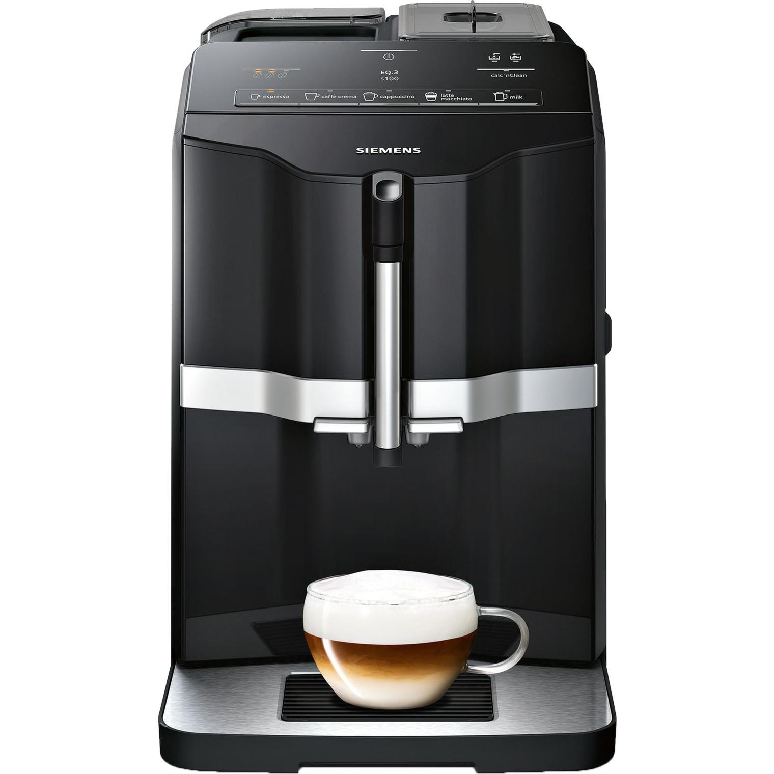 EQ.3 s100 Independiente Máquina espresso Negro 1,4 L 1 tazas Totalmente automática, Superautomática