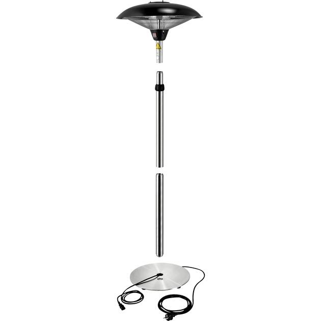 86706 Negro, Acero inoxidable 2100W Cuarzo calefactor eléctrico, Calentador radiante