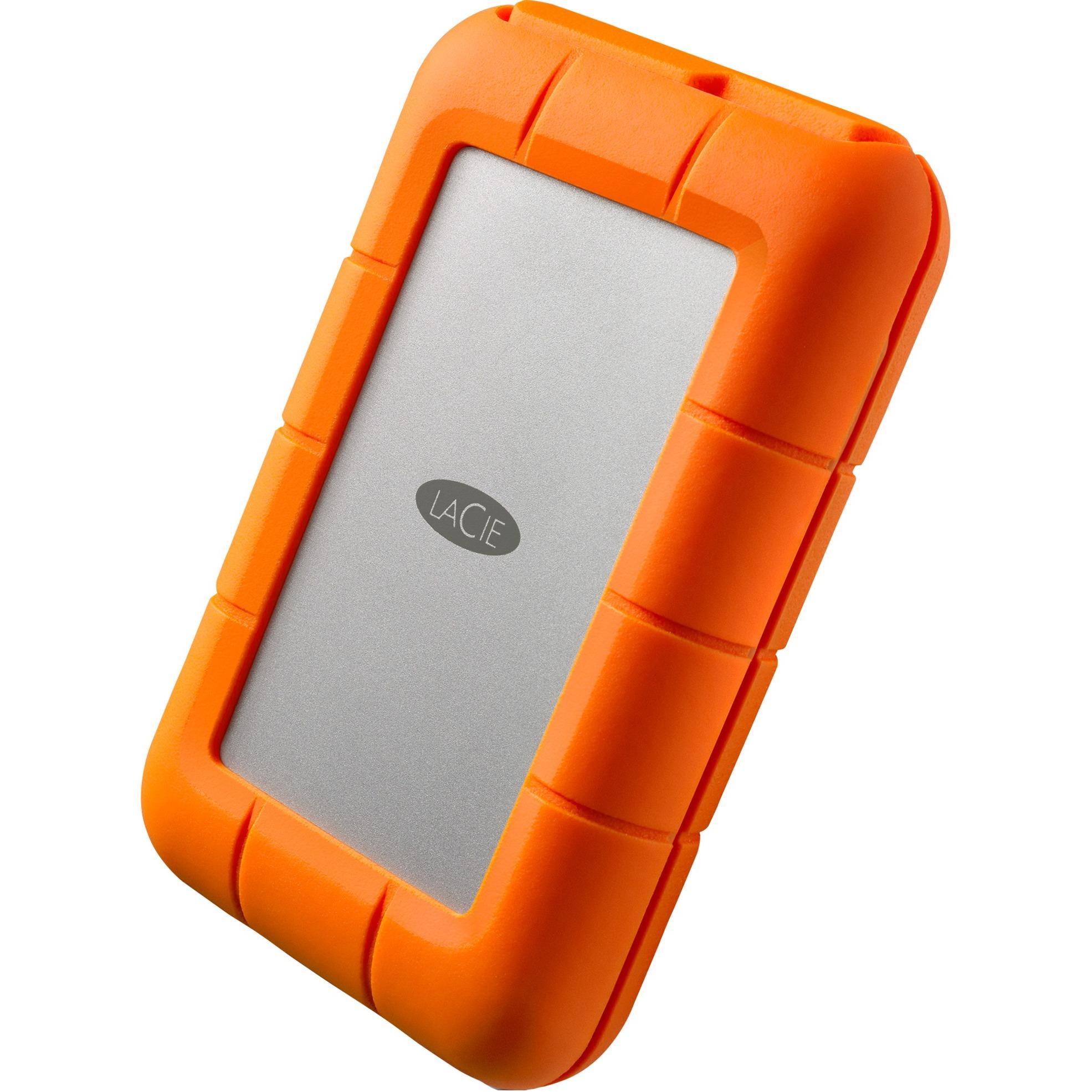 Rugged USB-C disco duro externo 1000 GB Naranja, Plata, Unidad de disco duro