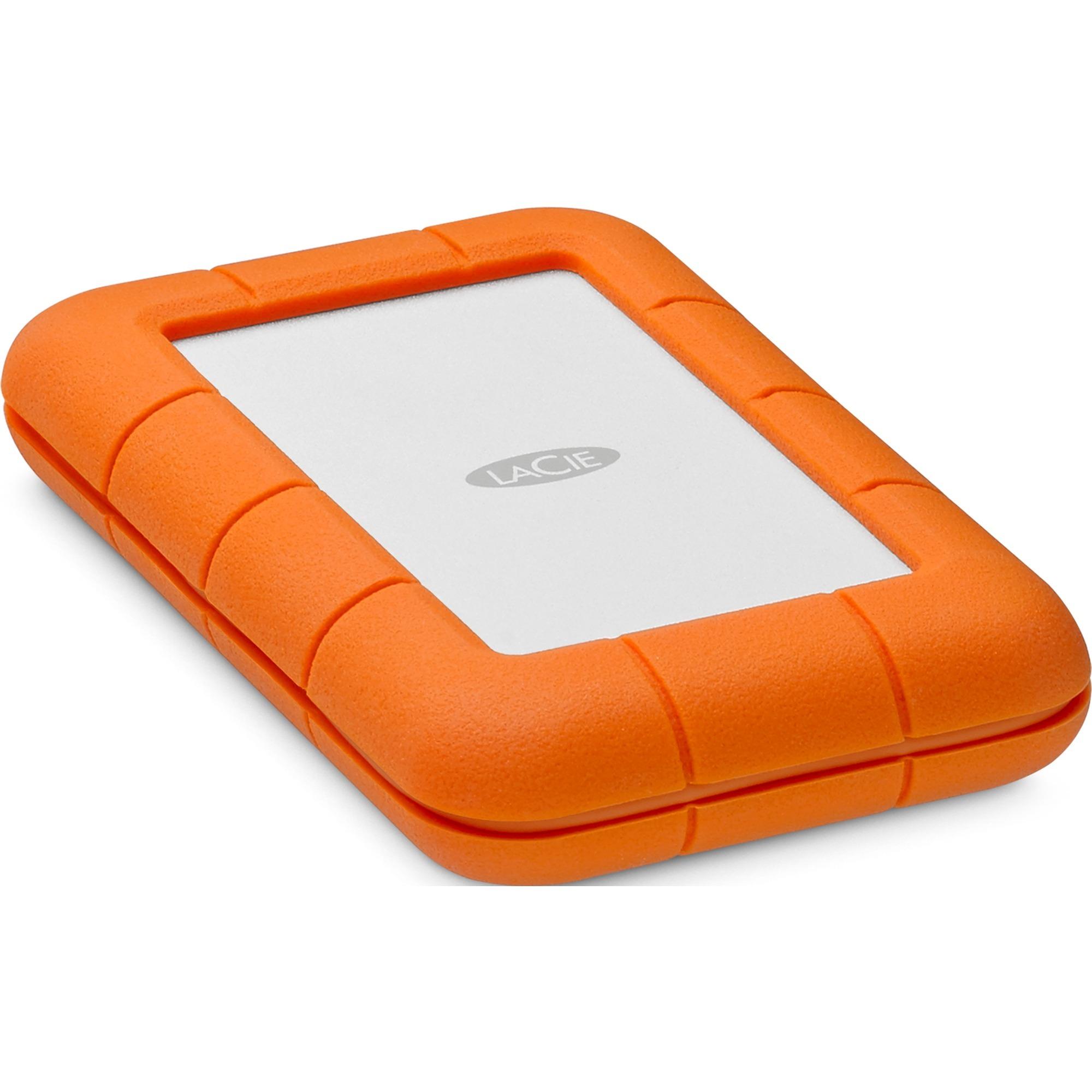 Rugged USB-C disco duro externo 2000 GB Naranja, Plata, Unidad de disco duro