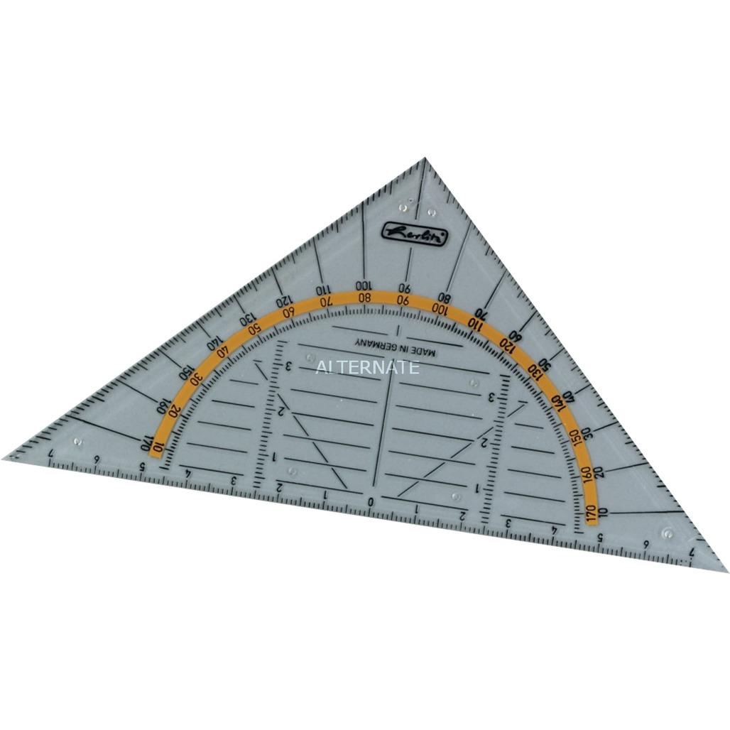 08700304 triángulo De plástico Transparente 1 pieza(s), Regla triangular con transportador