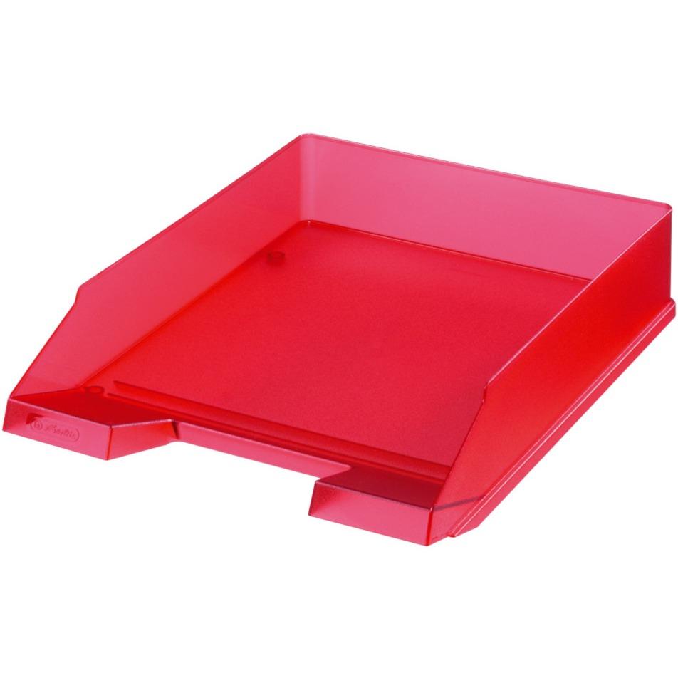 10653814 De plástico Rojo, Translúcido bandeja de escritorio, Bandeja de cartas
