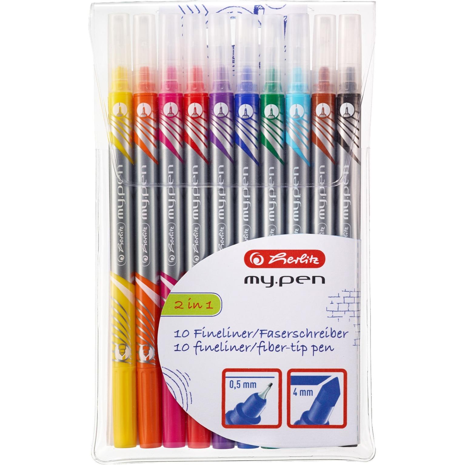 11367232 marcador 10 pieza(s) Negro, Azul, Marrón, Verde, Naranja, Rosa, Púrpura, Rojo, Amarillo Punta fina, Lápiz