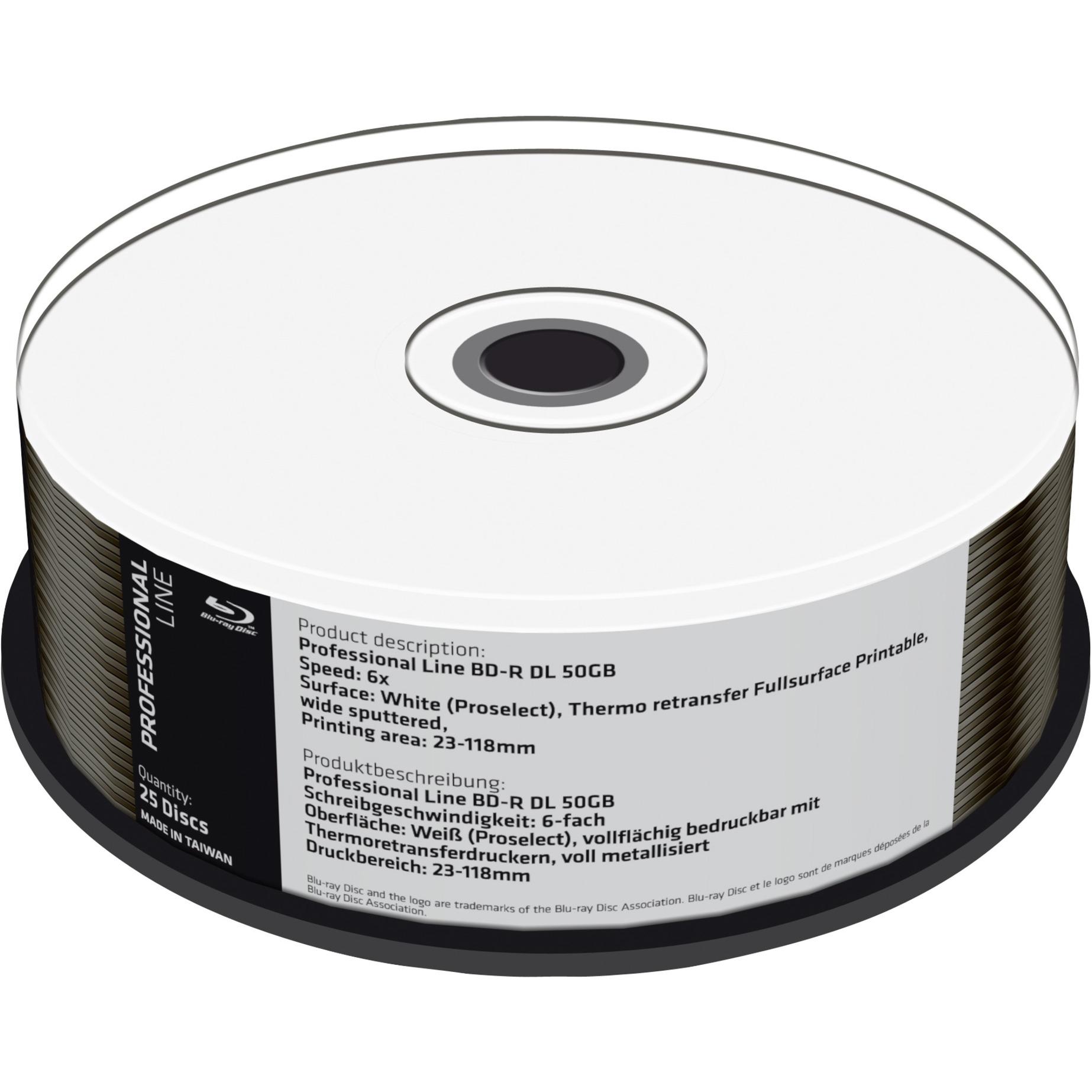 50GB, BD-R DL, 25 pack 25 pieza(s), Discos Blu-ray vírgenes