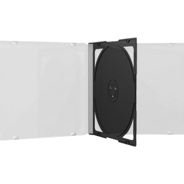 BOX23 funda para discos ópticos Caja transparente para CD 2 discos Negro, Transparente, Funda protectora