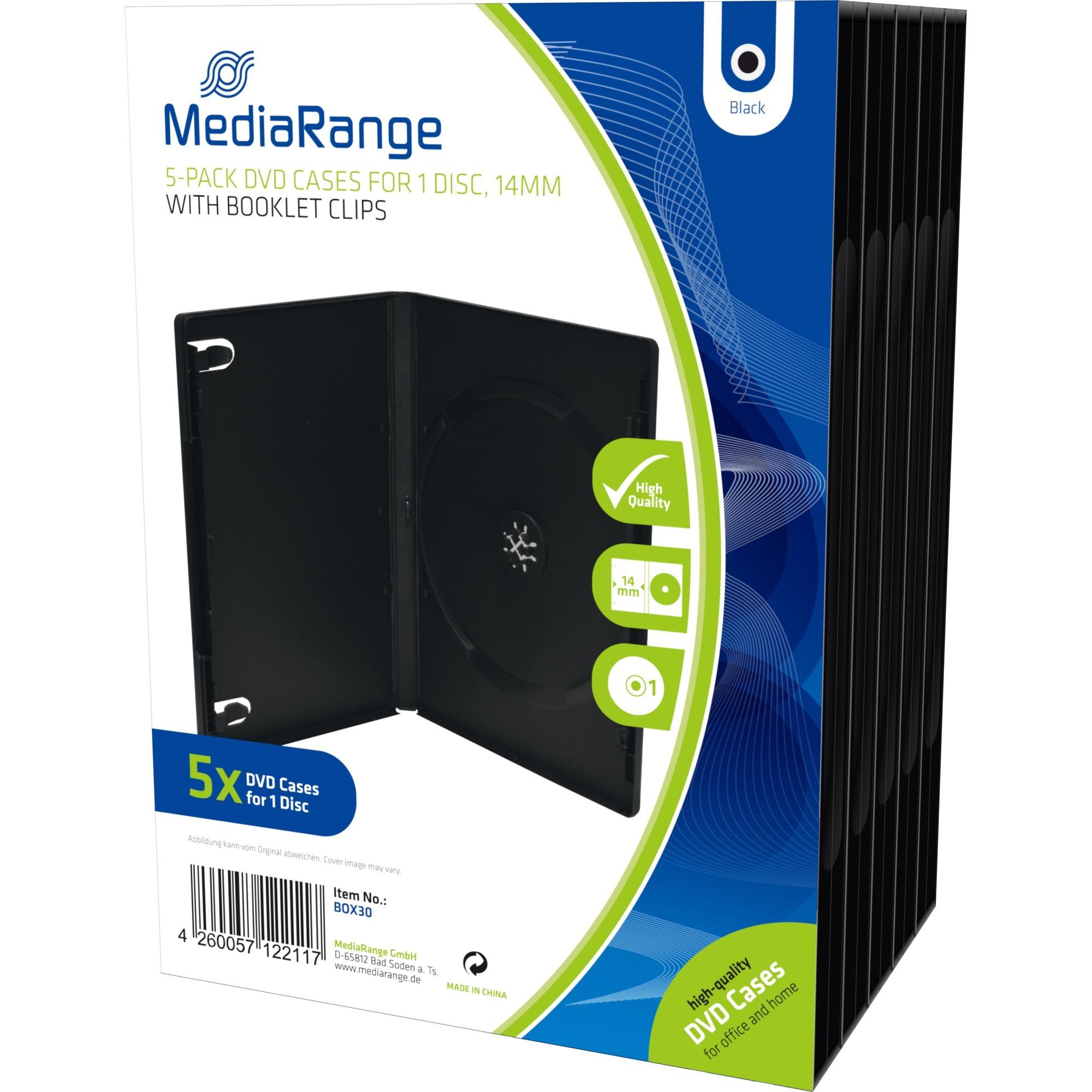 BOX30 funda para discos ópticos Funda de DVD 1 discos Negro, Funda protectora