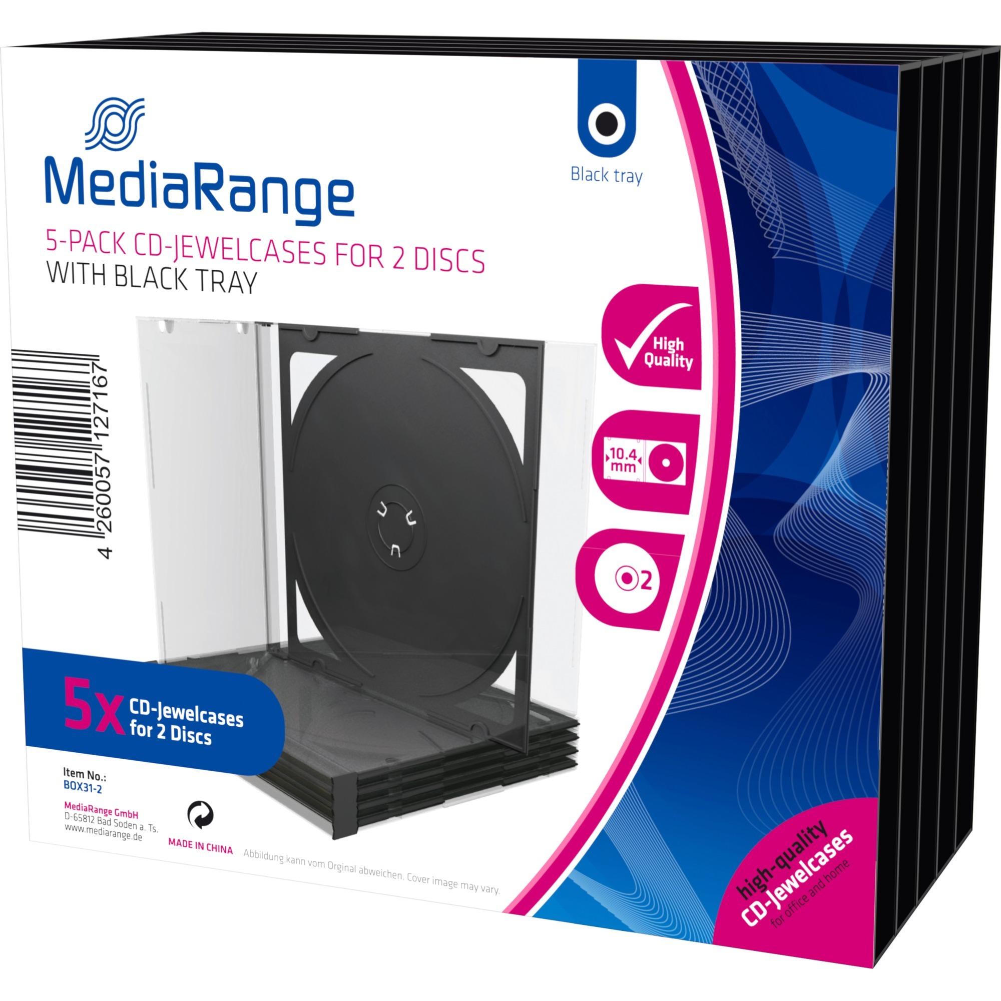 BOX31-2 funda para discos ópticos Caja transparente para CD 2 discos Negro, Transparente, Funda protectora