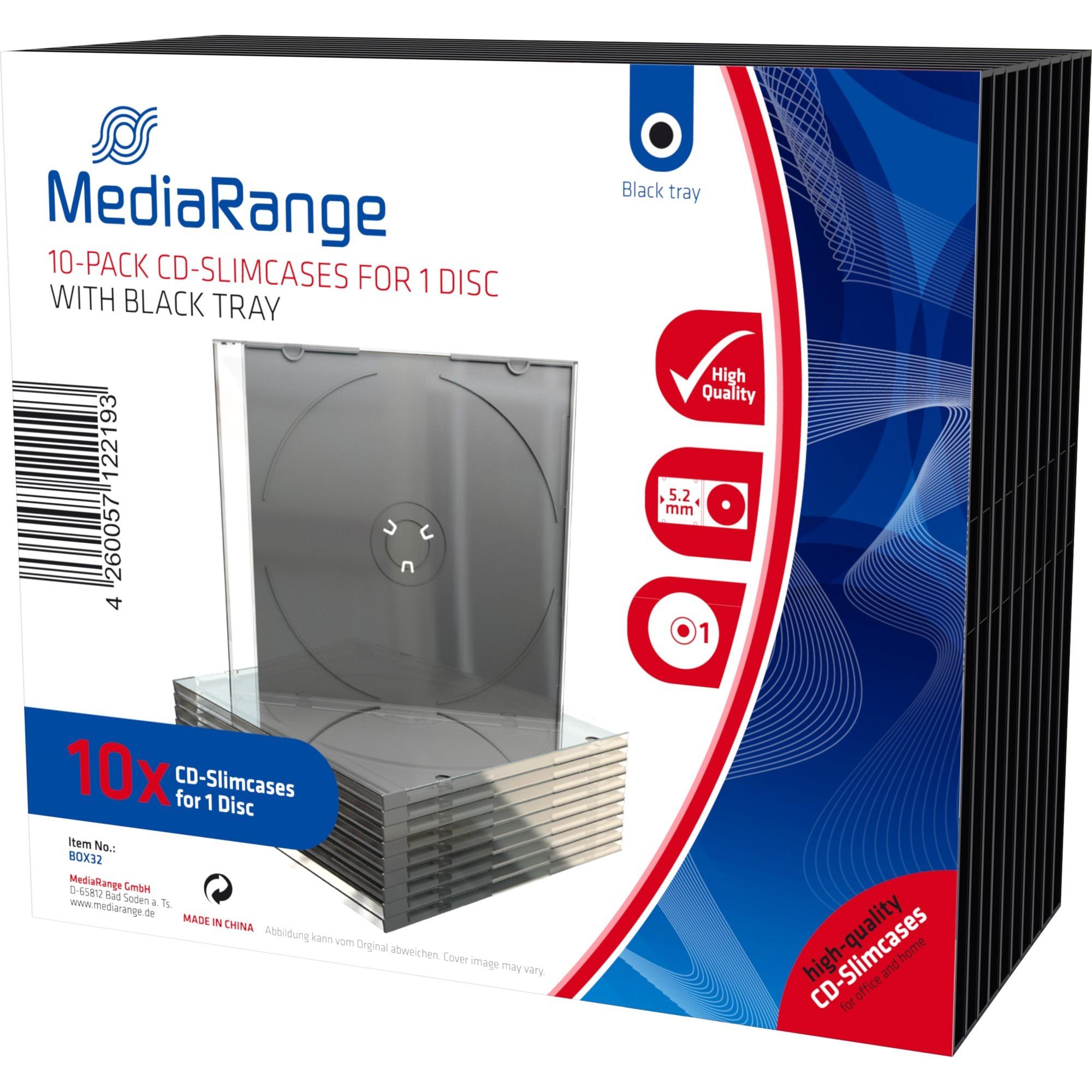 BOX32 funda para discos ópticos Funda de DVD 1 discos Negro, Transparente, Funda protectora