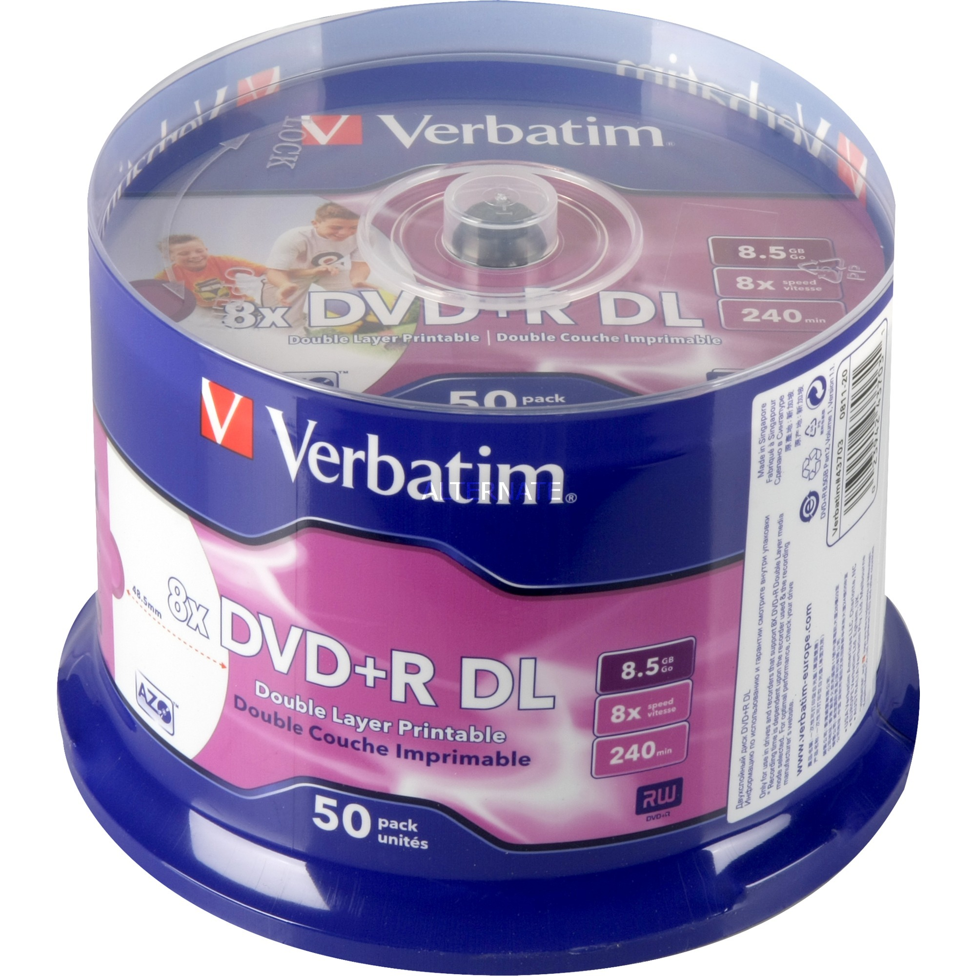 43703 8.5GB DVD-R 50pieza(s) DVD en blanco, DVDs vírgenes