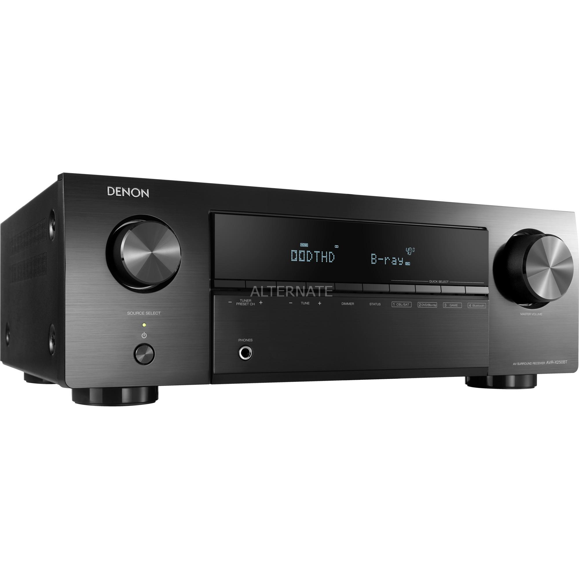 AVR-X250BT 130 W 5.1 canales Envolvente 3D Negro, Receptor AV