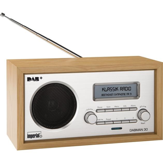 DABMAN 30 Reloj Analógica Madera radio