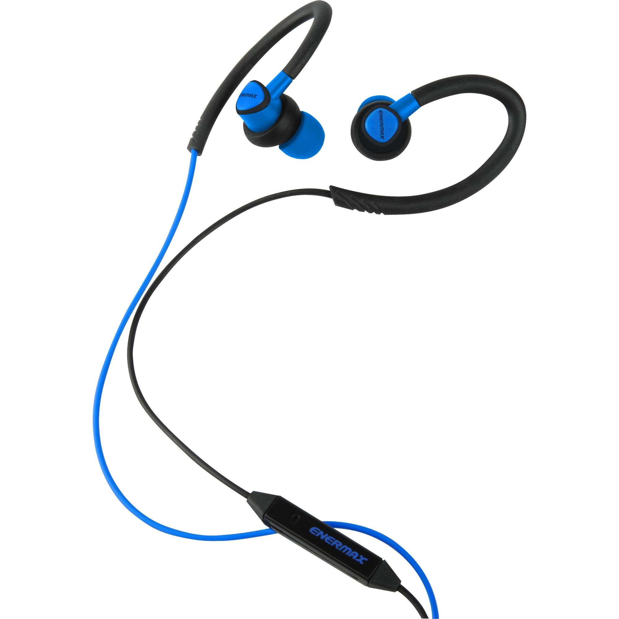 EAE01-BL gancho de oreja, Dentro de oído Binaurale Alámbrico Negro, Azul auriculares para móvil, Auriculares con micrófono