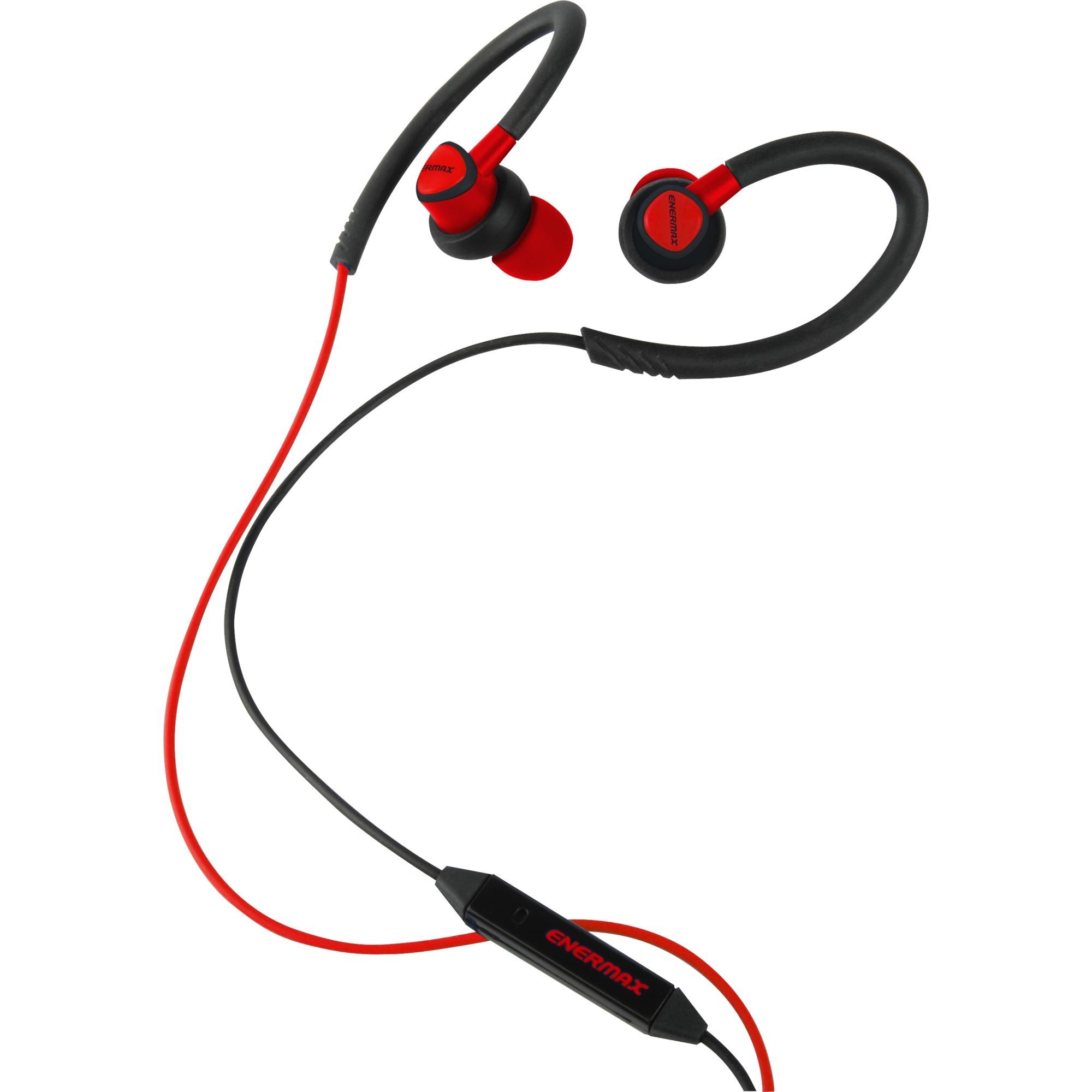 EAE01-R gancho de oreja, Dentro de oído Binaurale Alámbrico Negro, Rojo auriculares para móvil, Auriculares con micrófono